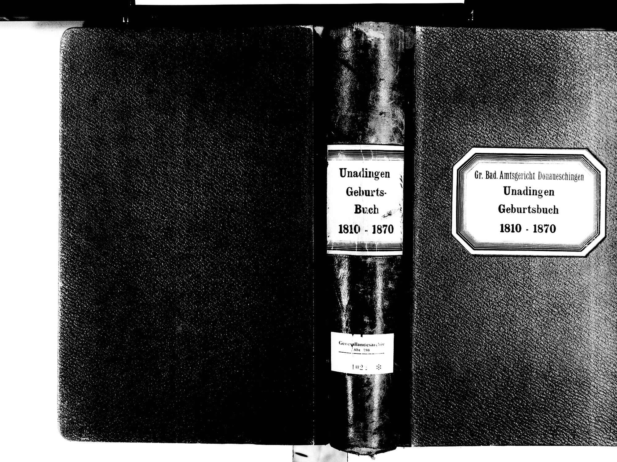 Unadingen, Löffingen FR; Katholische Gemeinde: Geburtenbuch 1810-1870, Bild 1
