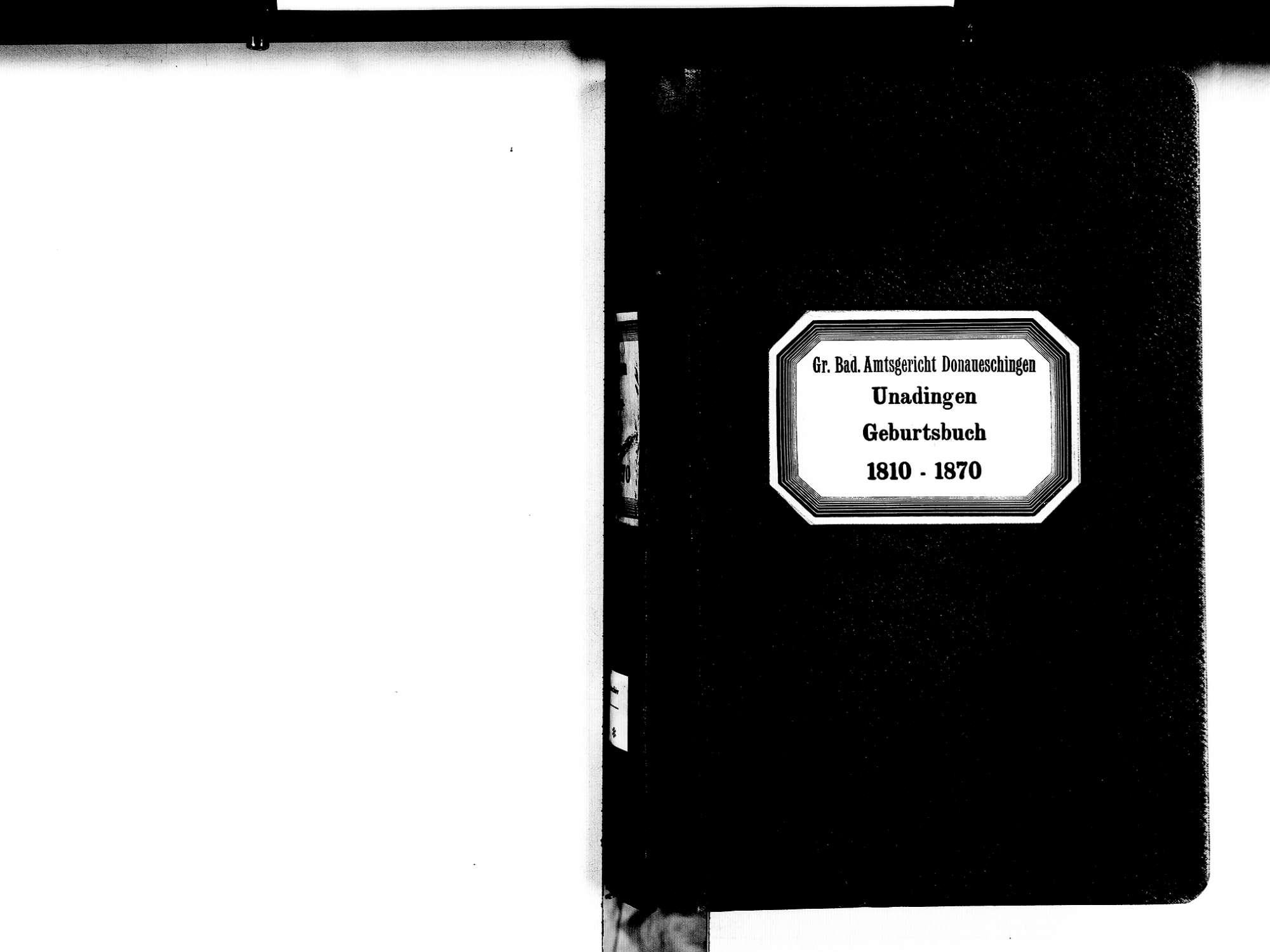 Unadingen, Löffingen FR; Katholische Gemeinde: Geburtenbuch 1810-1870, Bild 2