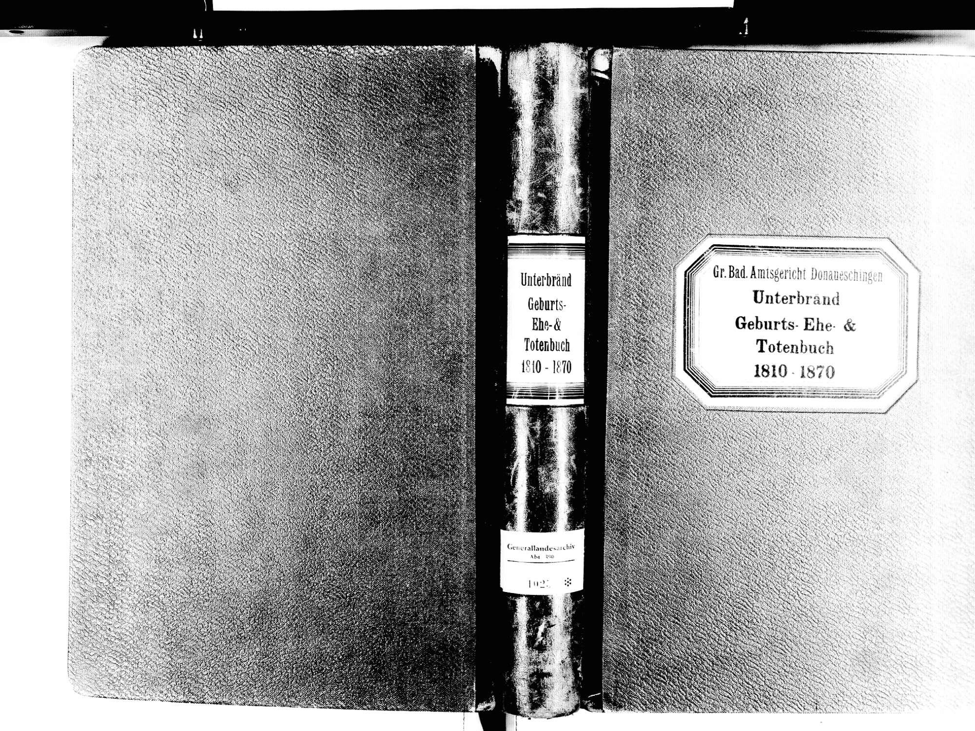 Unterbränd, Bräunlingen VS; Katholische Gemeinde: Standesbuch 1810-1870, Bild 1