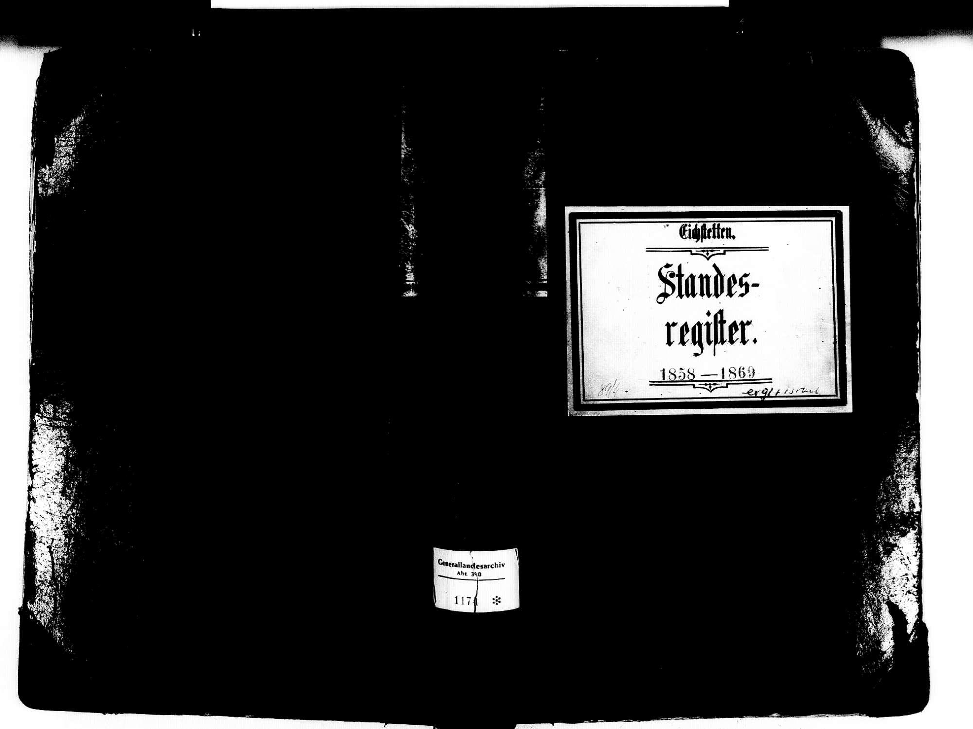 Eichstetten FR; Evangelische Gemeinde: Standesbuch 1858-1869 Eichstetten FR; Israelitische Gemeinde: Standesbuch 1858-1869, Bild 1