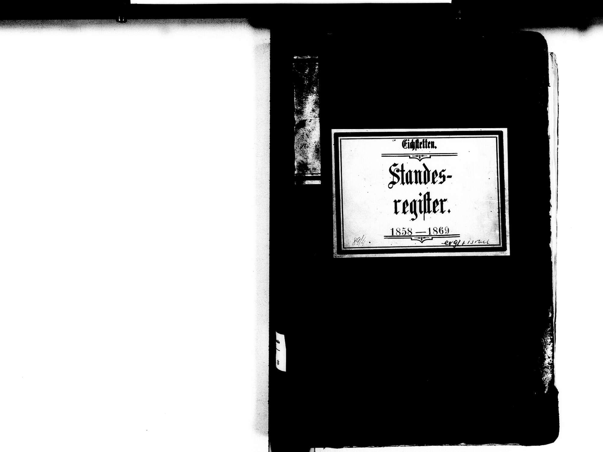 Eichstetten FR; Evangelische Gemeinde: Standesbuch 1858-1869 Eichstetten FR; Israelitische Gemeinde: Standesbuch 1858-1869, Bild 2