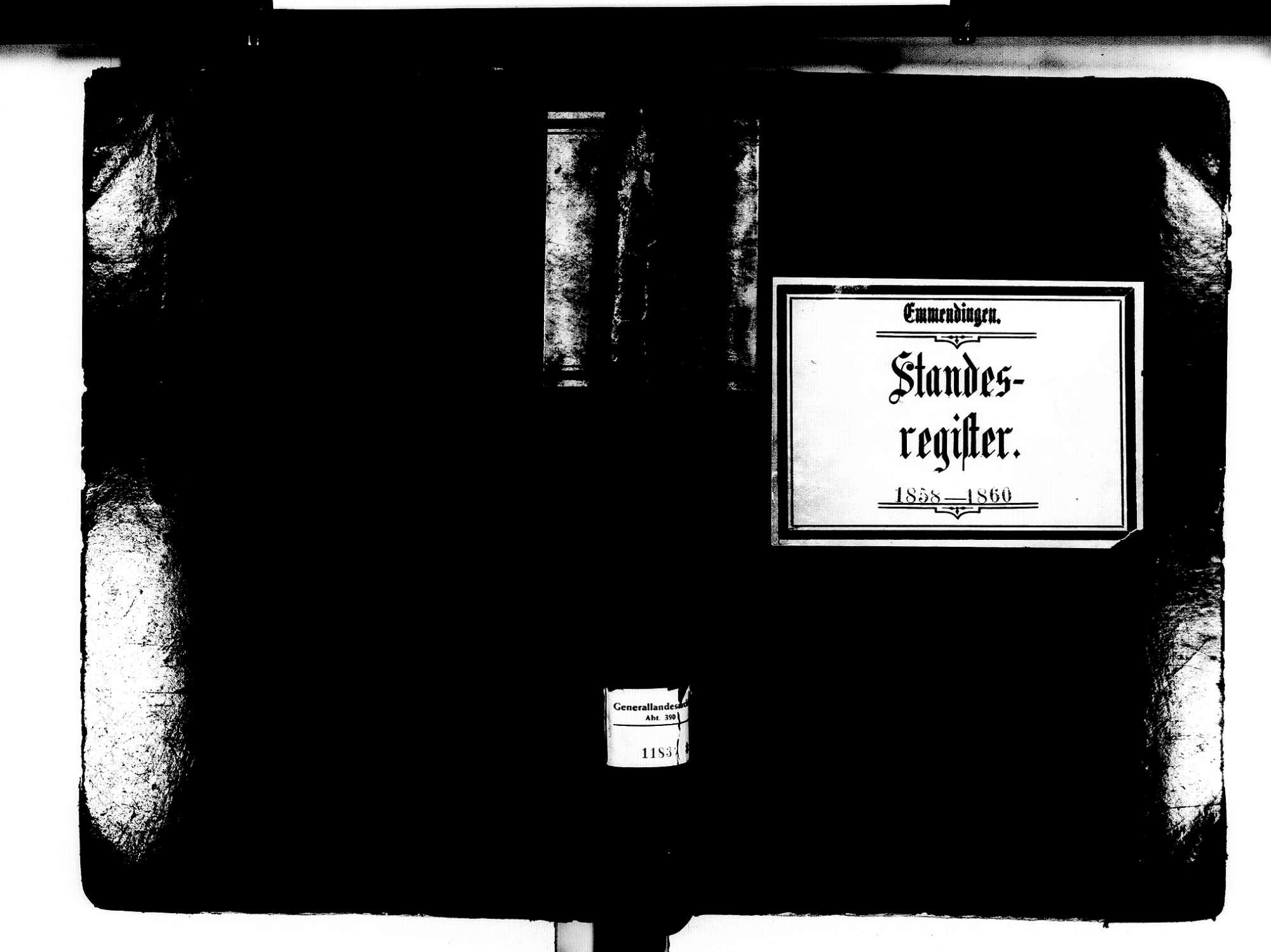 Emmendingen EM; Evangelische Gemeinde: Standesbuch 1858-1860 Emmendingen EM; Katholische Gemeinde: Standesbuch 1858-1860 Emmendingen EM; Israelitische Gemeinde: Standesbuch 1858-1860, Bild 1