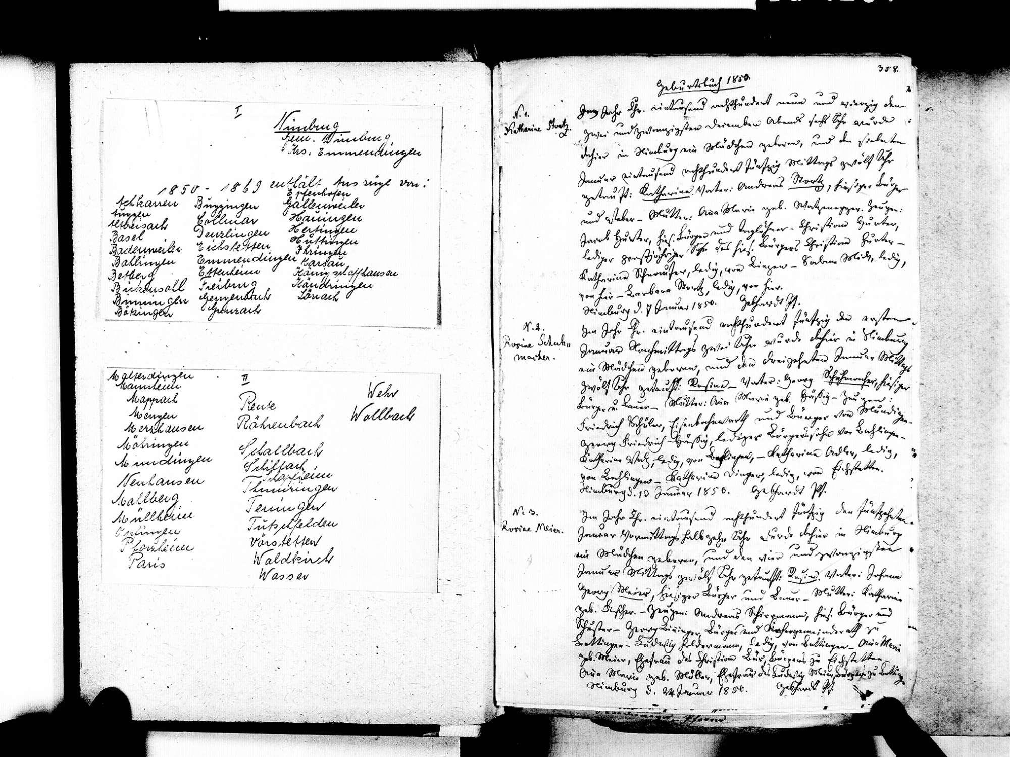 Nimburg, Teningen EM; Evangelische Gemeinde: Standesbuch 1850-1869 Enthält: Einzelne Katholische Einträge, Bild 3 (fol. 358)