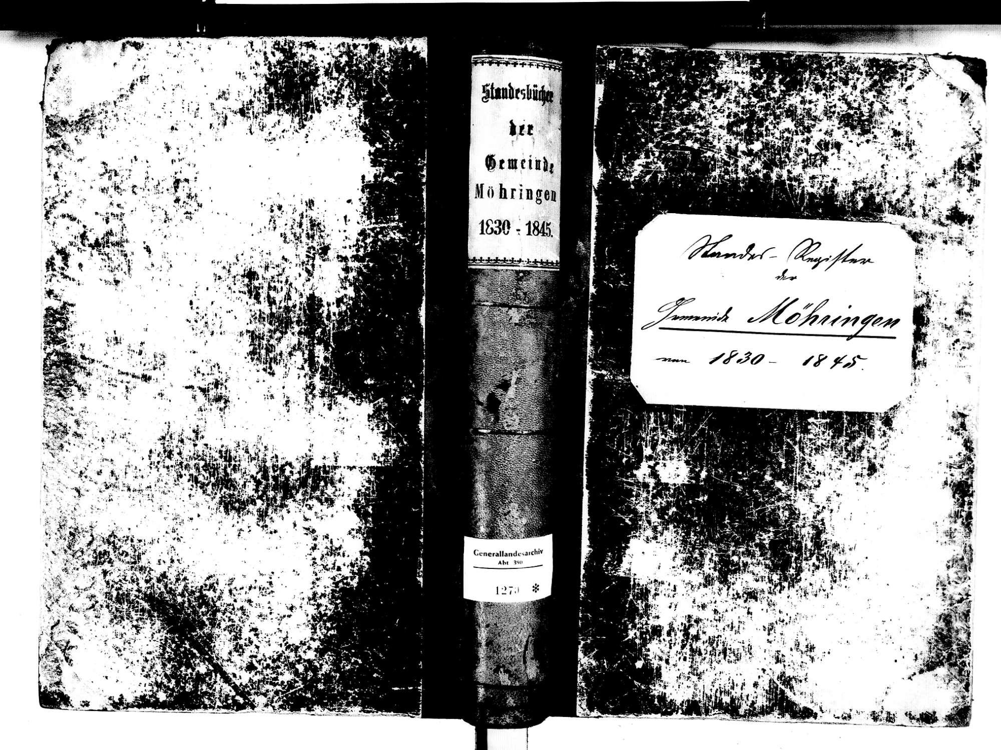 Möhringen, Tuttlingen TUT; Katholische Gemeinde: Standesbuch 1830-1845, Bild 1