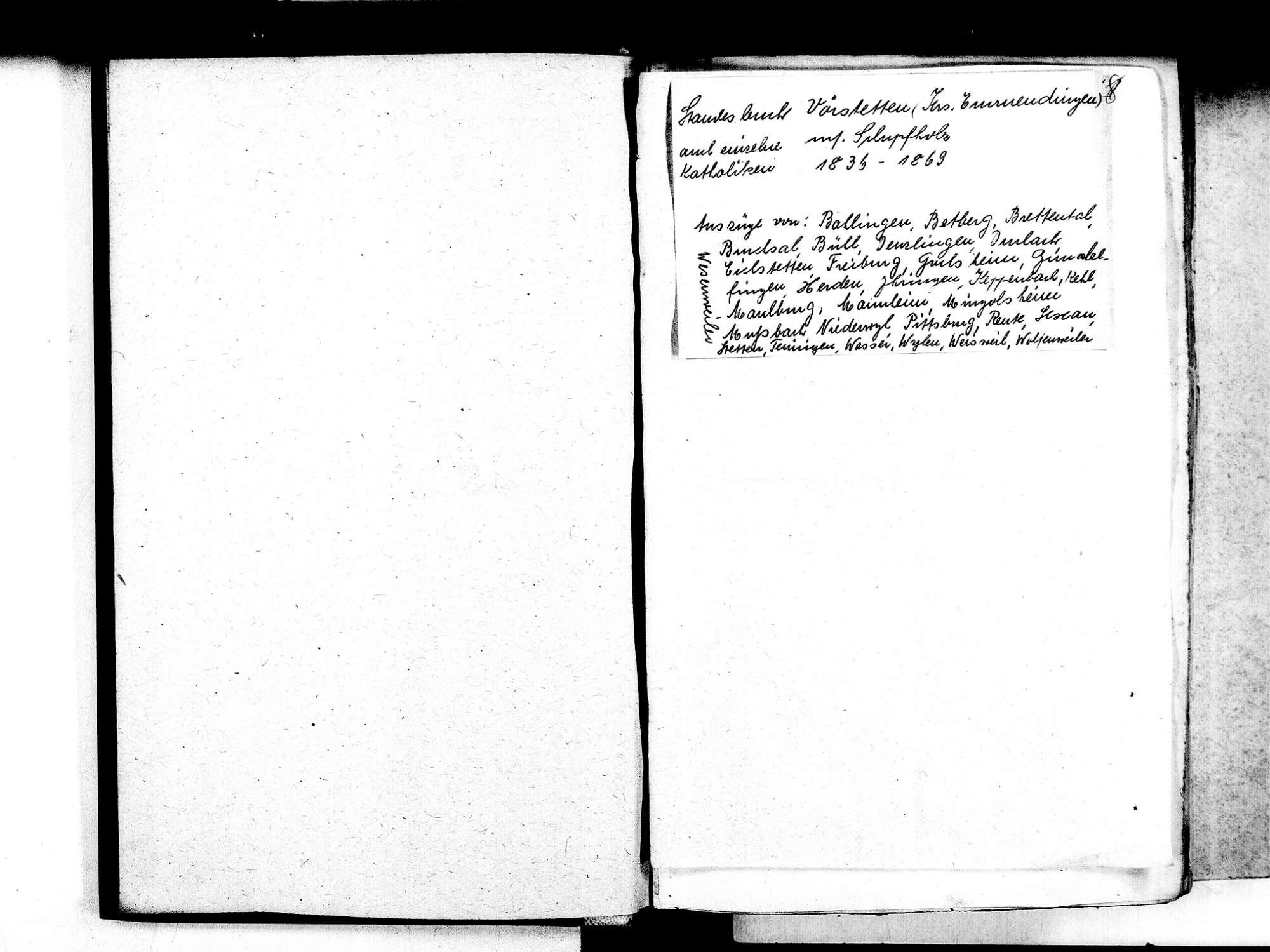 Vörstetten EM; Evangelische Gemeinde: Standesbuch 1836-1869 Enthält: Einzelne Katholische Einträge, Bild 3