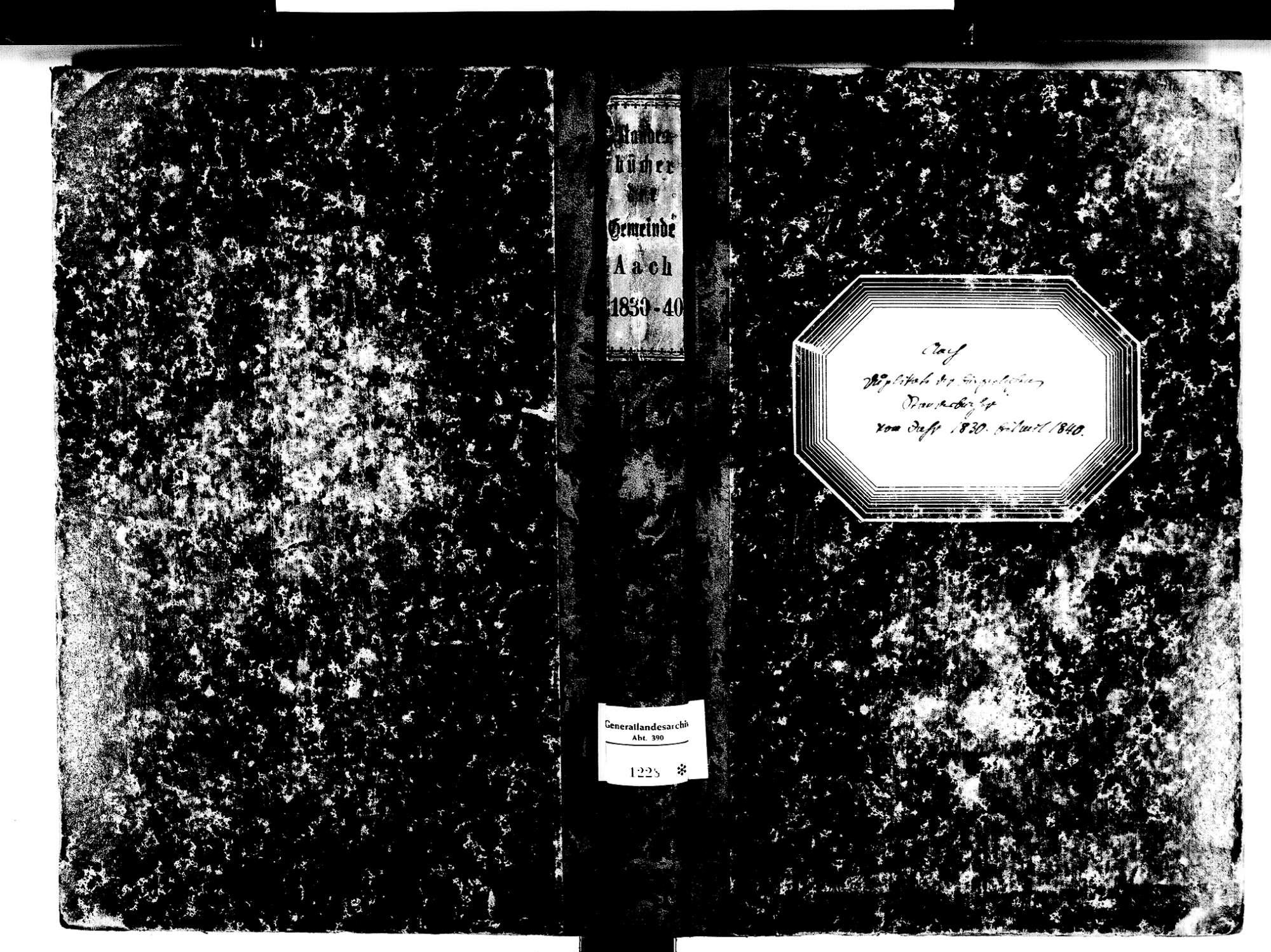 Aach KN; Katholische Gemeinde: Standesbuch 1830-1840, Bild 1