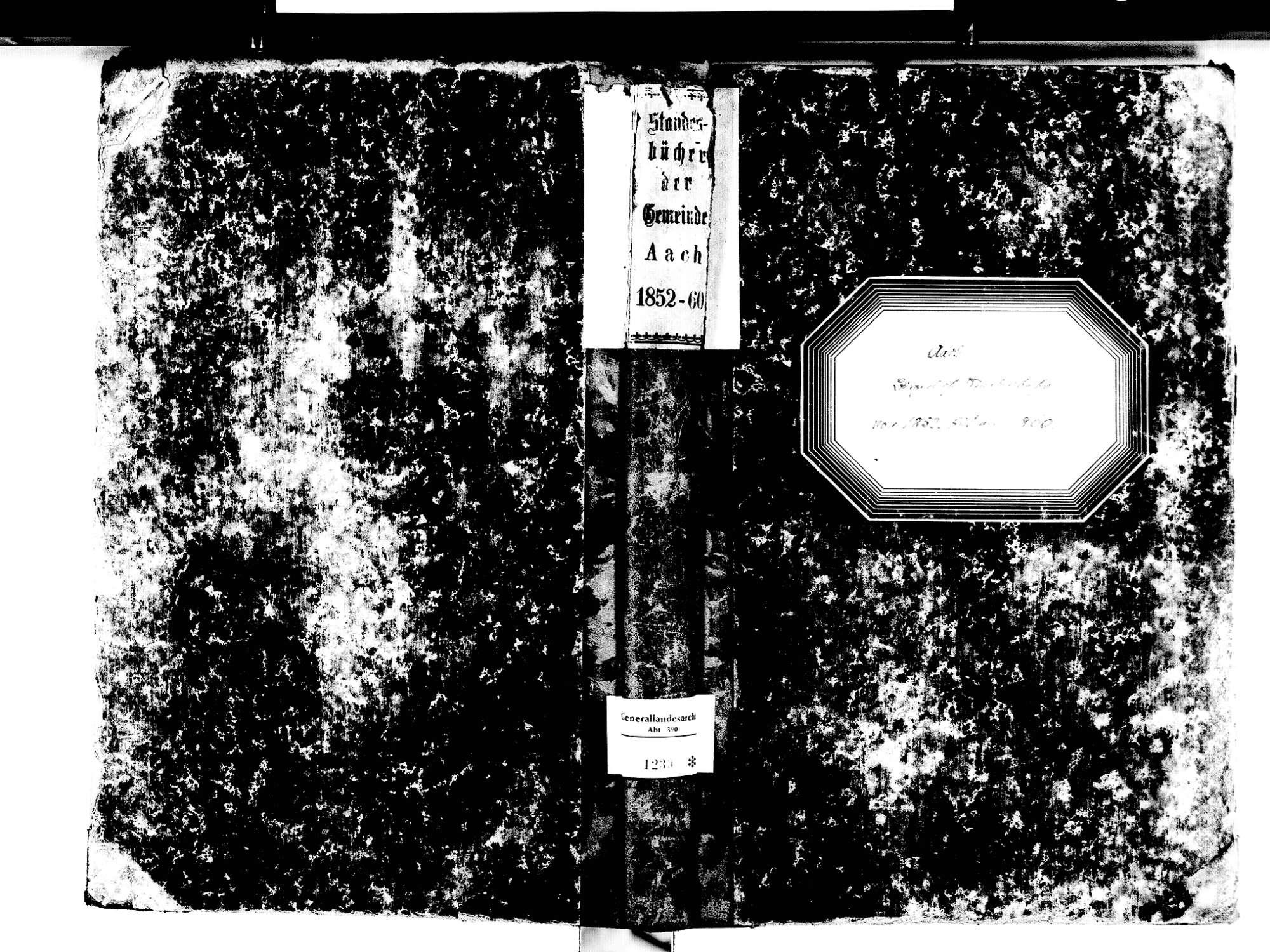 Aach KN; Katholische Gemeinde: Standesbuch 1852-1860, Bild 1