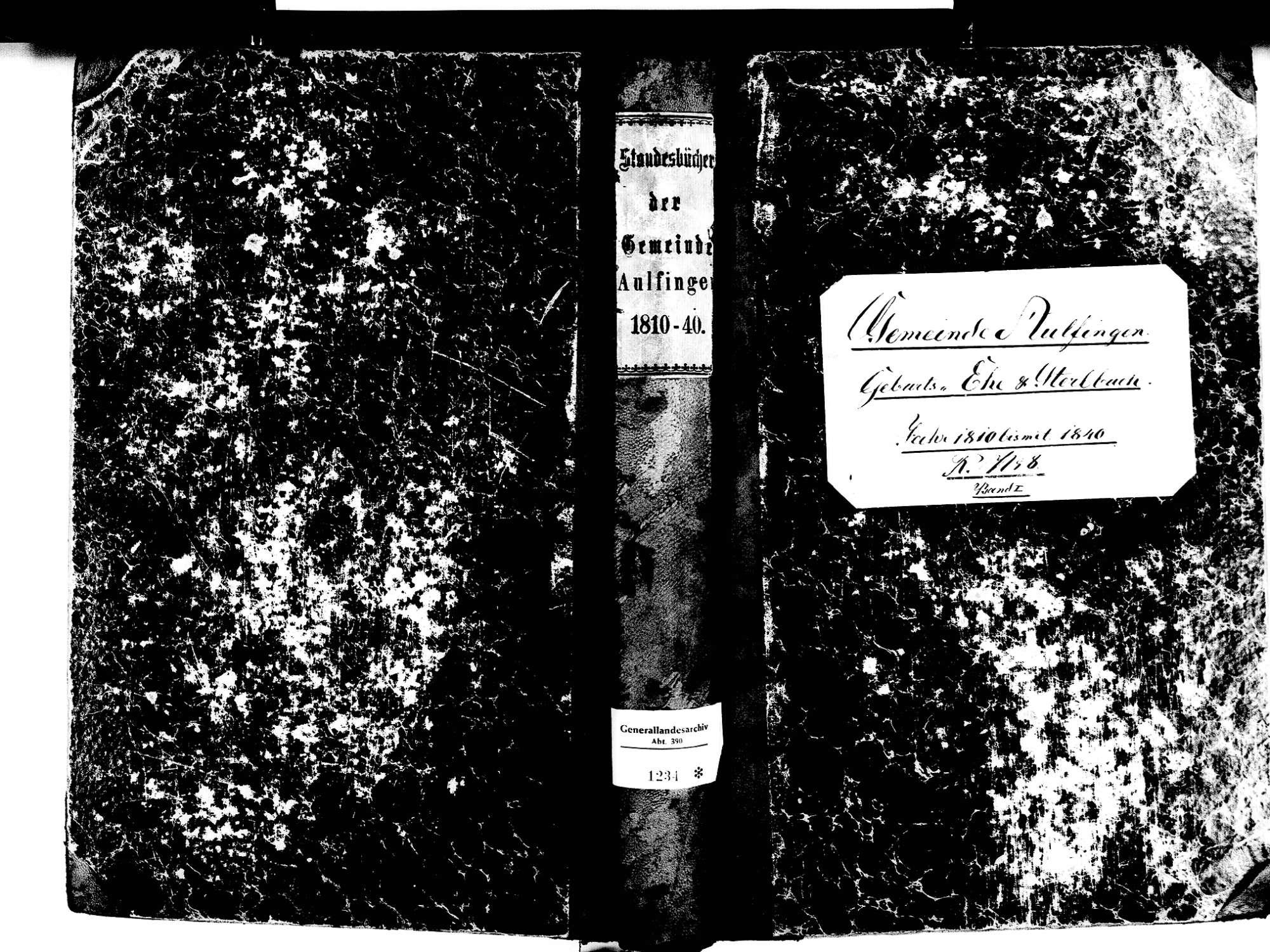 Aulfingen, Geisingen TUT; Katholische Gemeinde: Standesbuch 1810-1840, Bild 1
