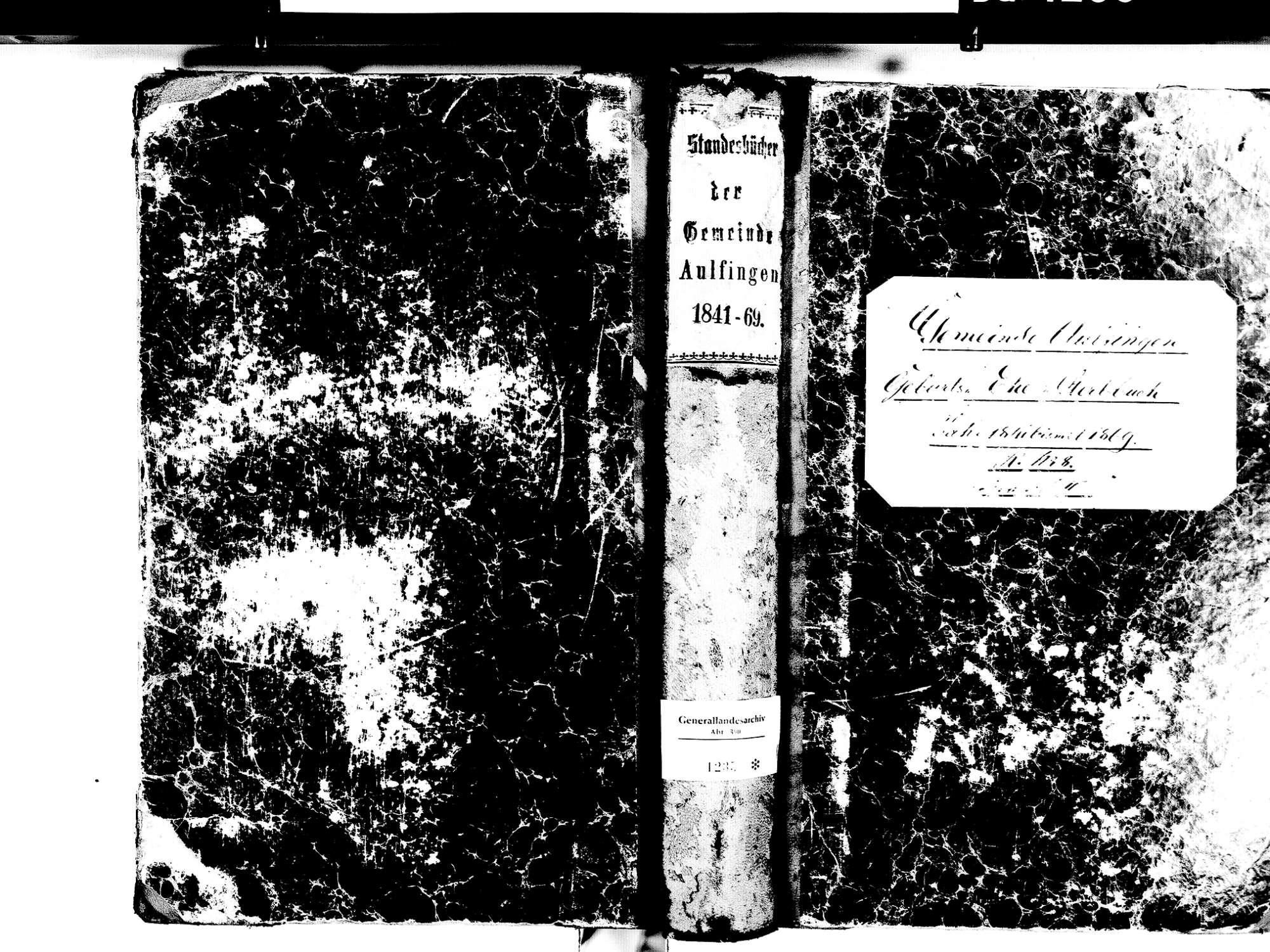 Aulfingen, Geisingen TUT; Katholische Gemeinde: Standesbuch 1841-1869, Bild 1