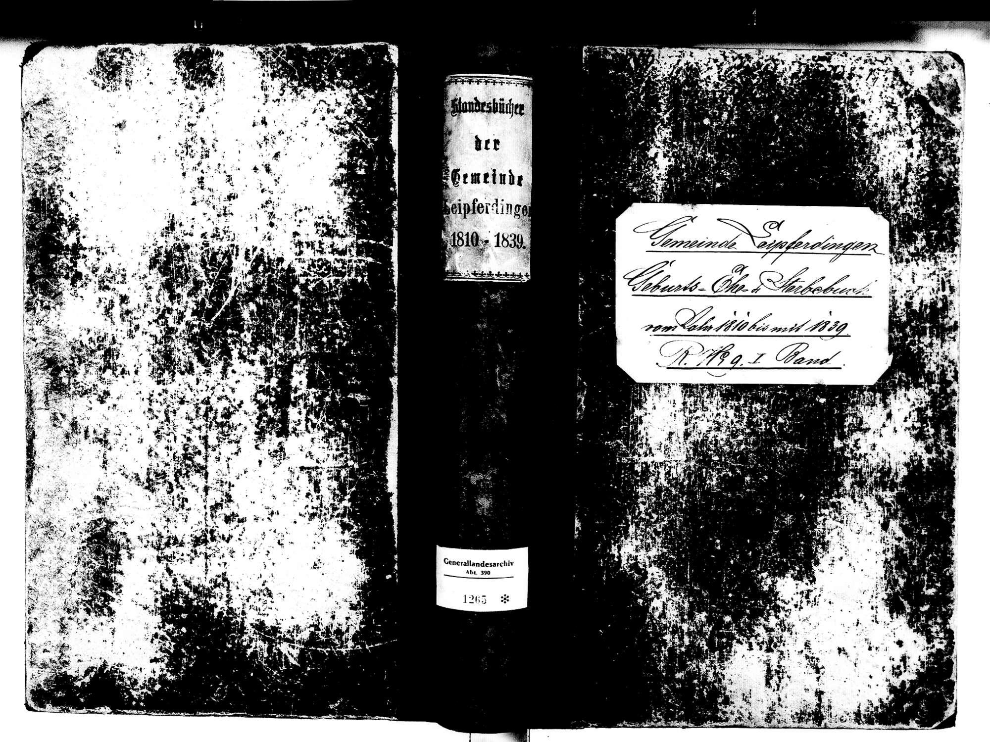Leipferdingen, Geisingen TUT; Katholische Gemeinde: Standesbuch 1810-1839, Bild 1