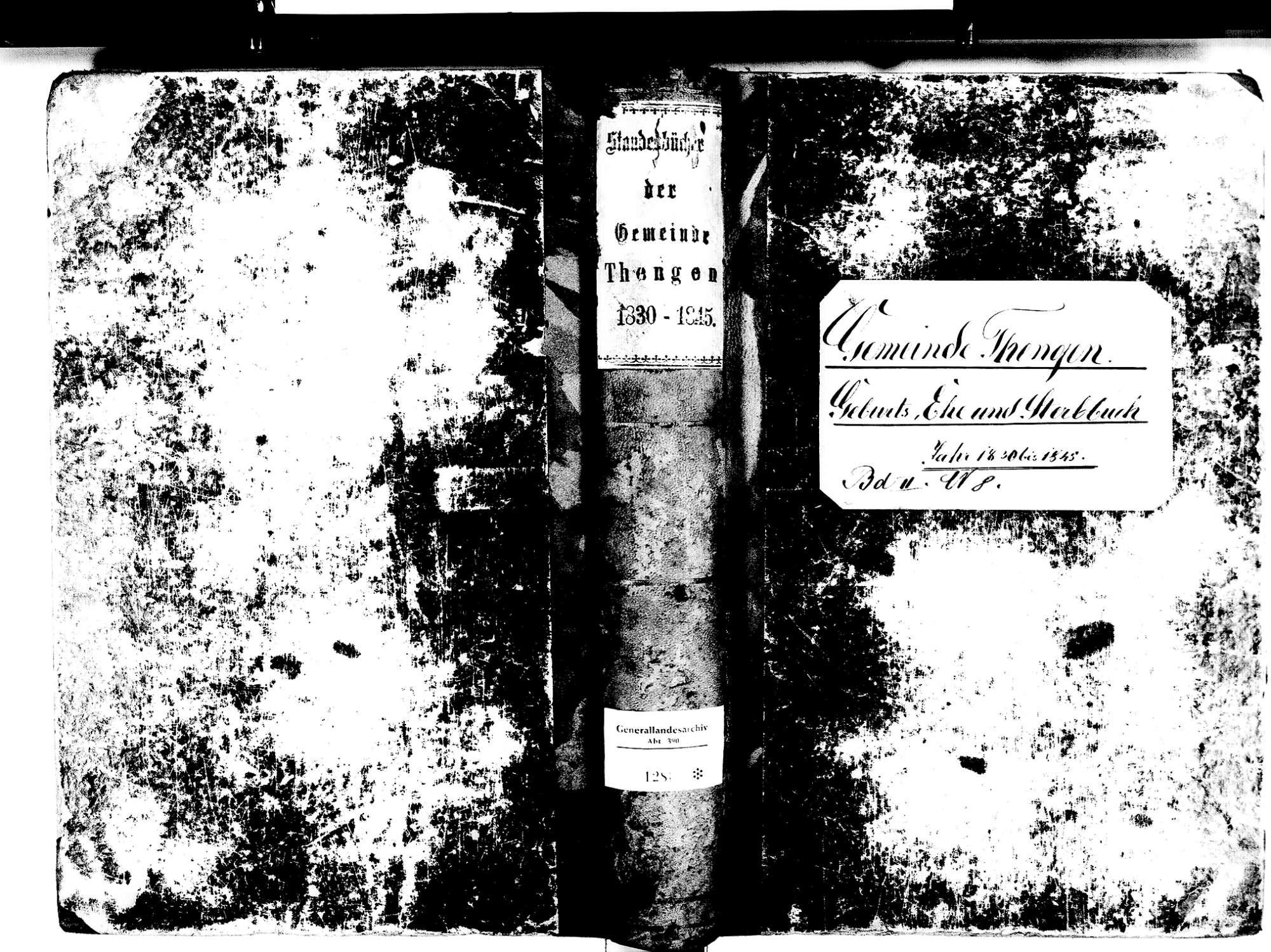 Tengen KN; Katholische Gemeinde: Standesbuch 1830-1845, Bild 1