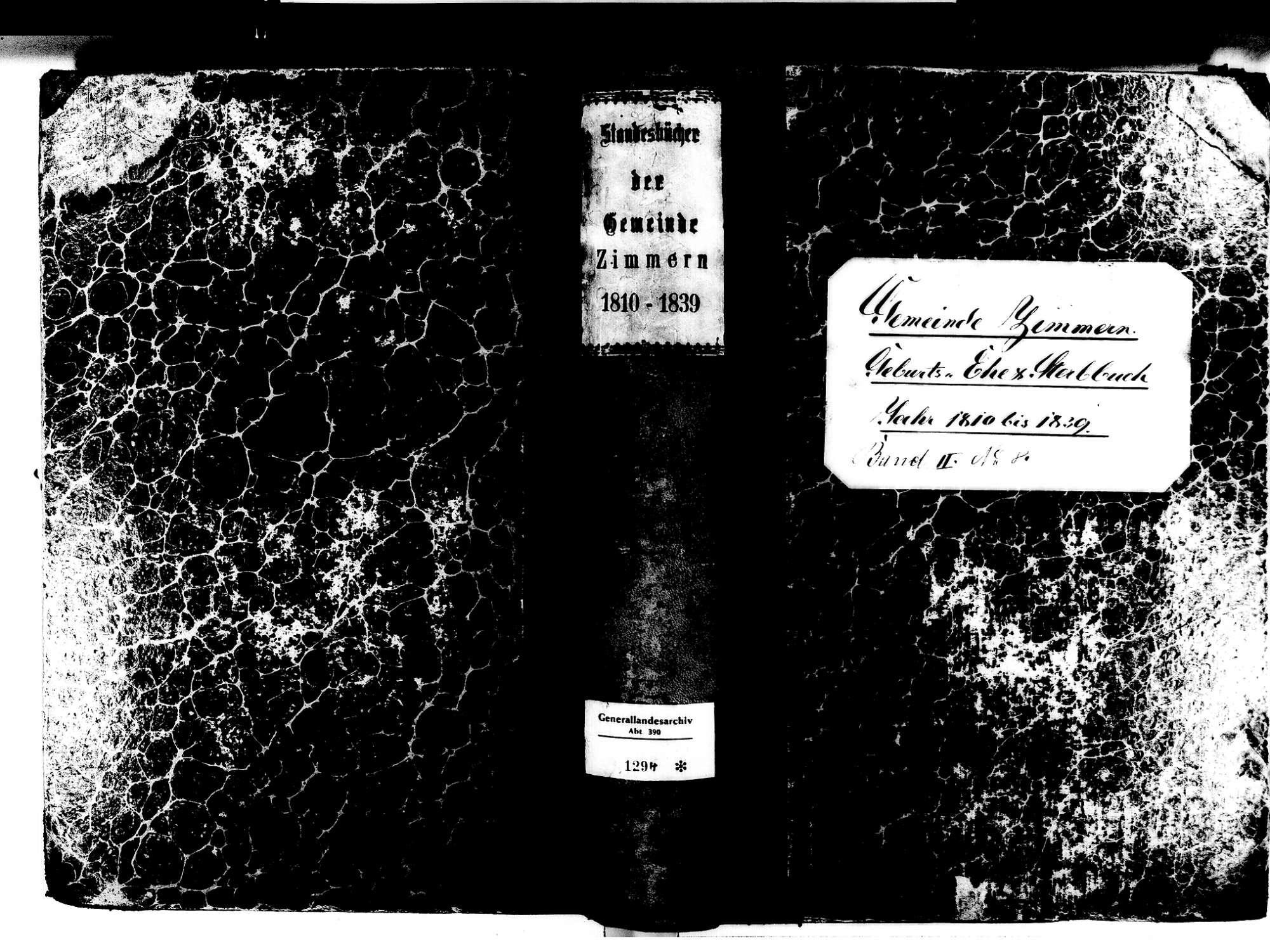 Zimmern, Immendingen TUT; Katholische Gemeinde: Standesbuch 1810-1839, Bild 1