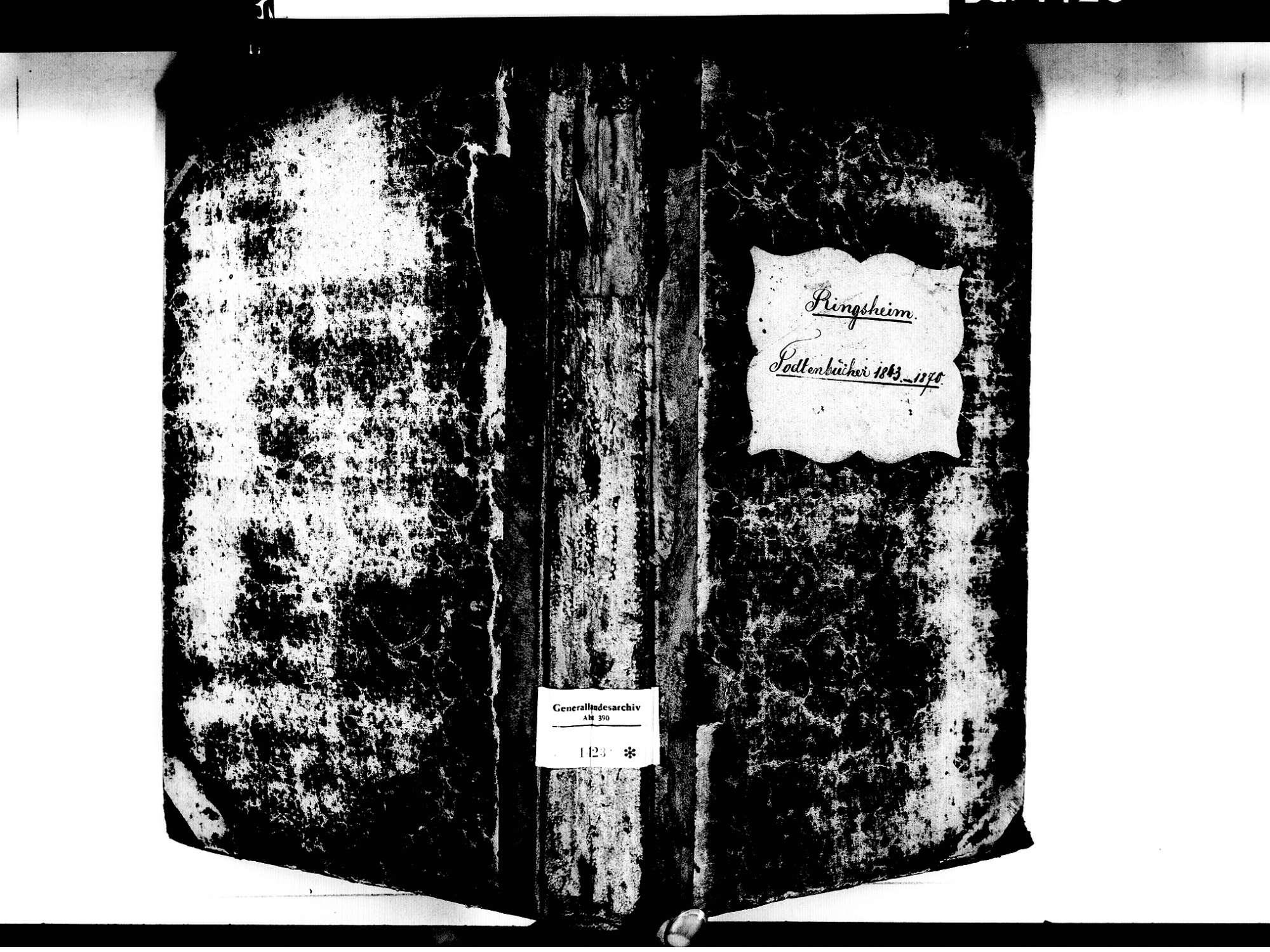Ringsheim OG; Katholische Gemeinde: Sterbebuch 1843-1870, Bild 1