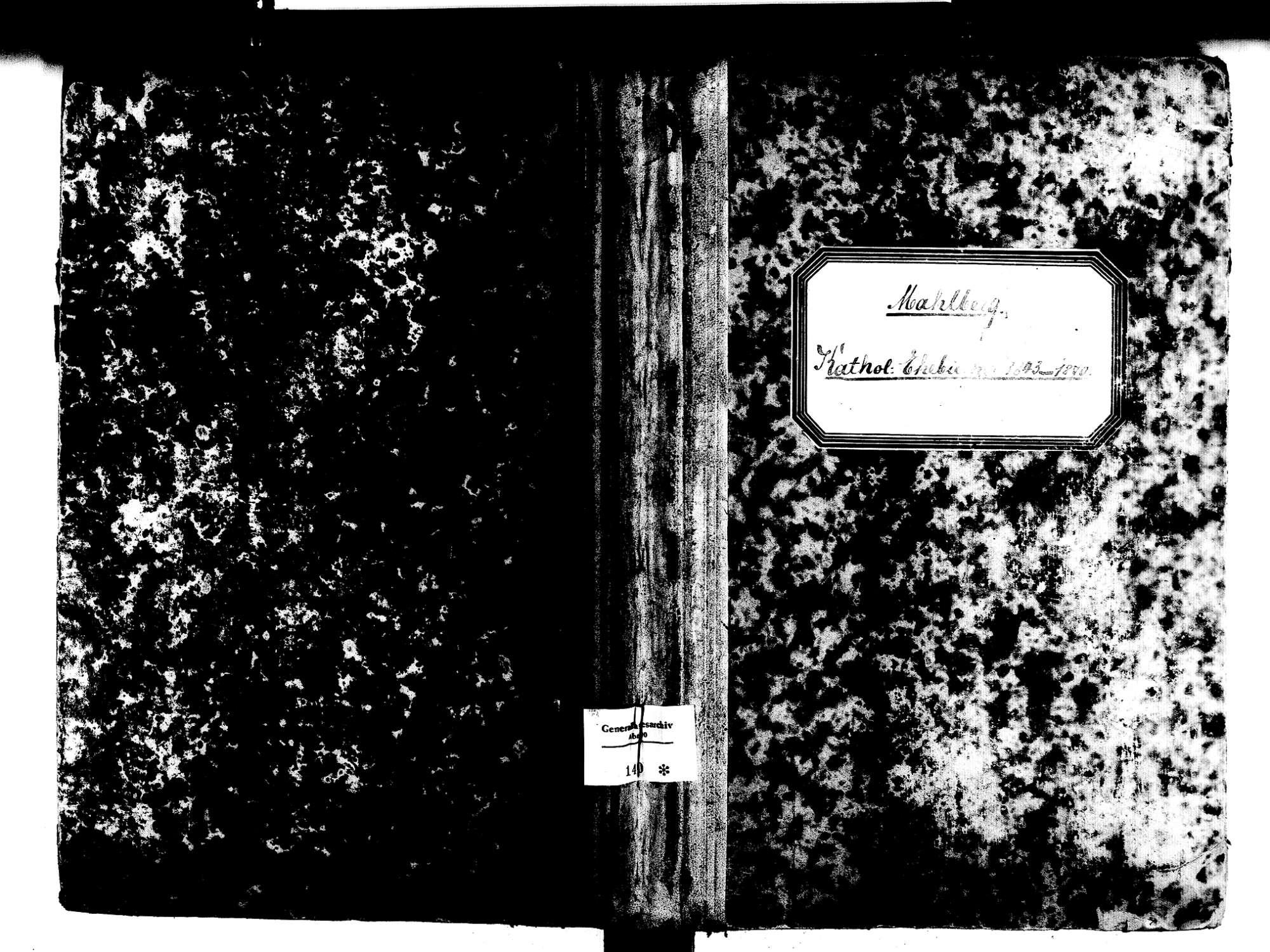 Mahlberg OG; Katholische Gemeinde: Heiratsbuch 1843-1870, Bild 1
