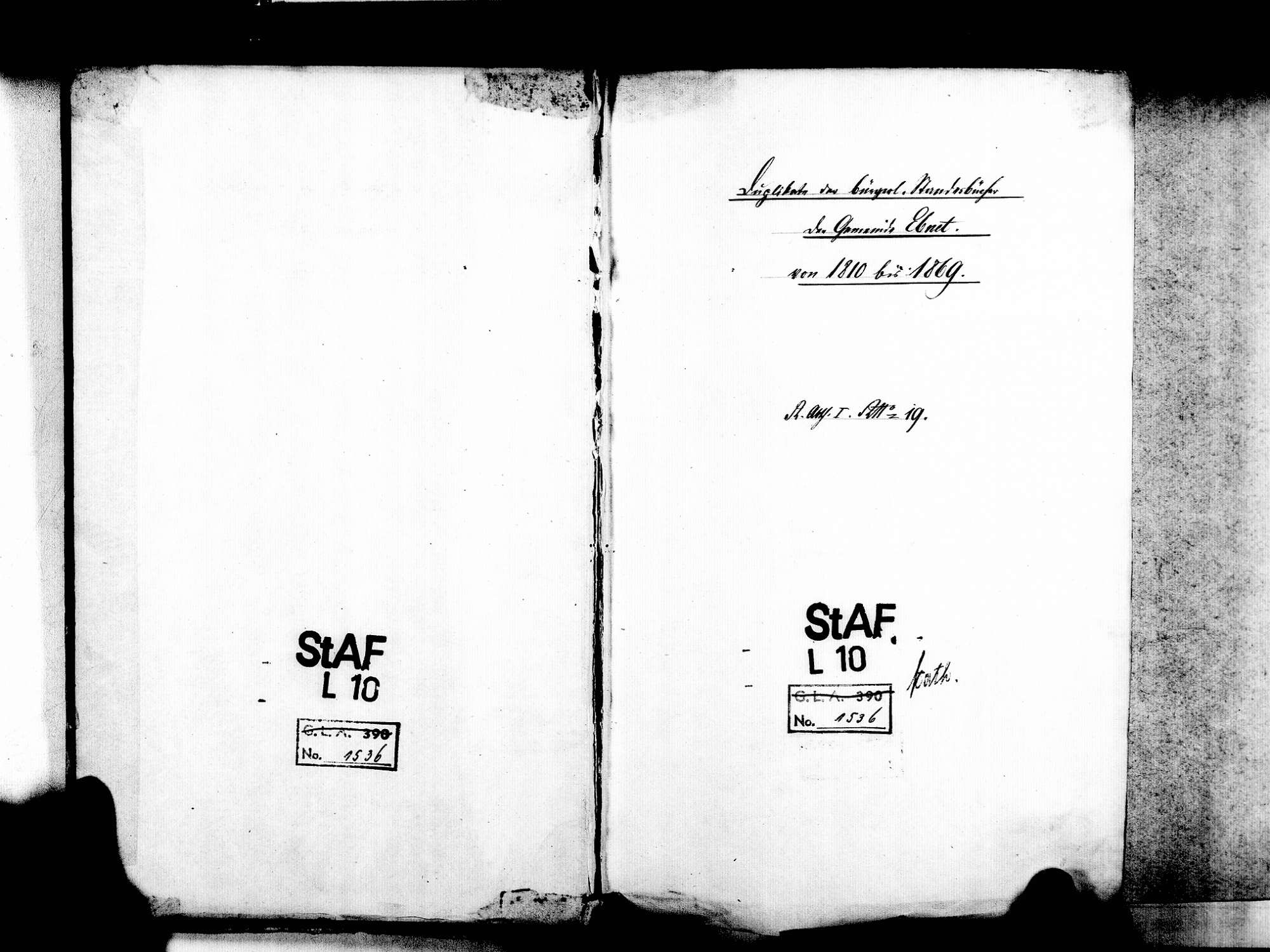 Ebnet; Freiburg im Breisgau FR; Katholische Gemeinde: Standesbuch 1810-1869 [1870 nur Januar], Bild 3