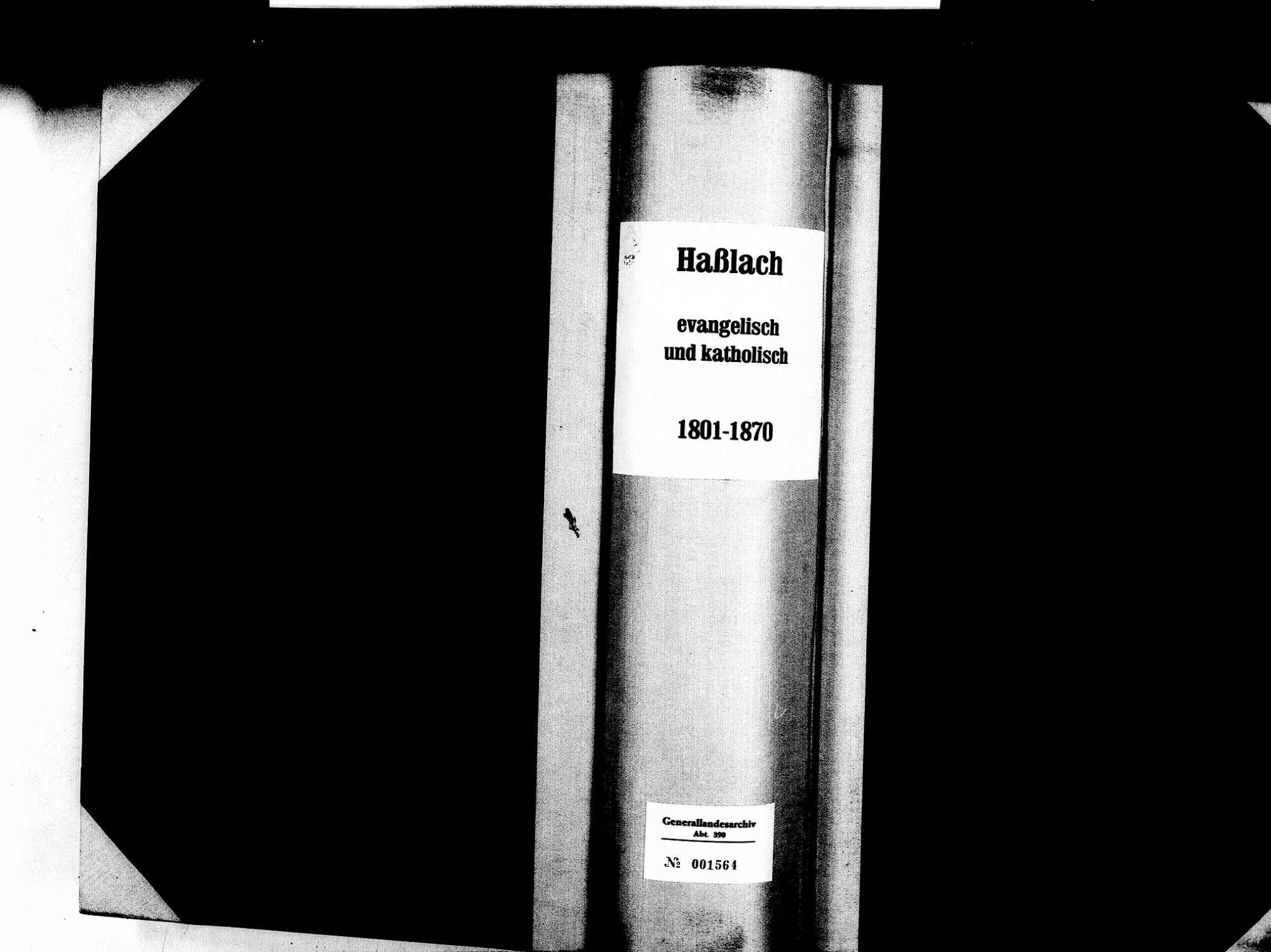 Haslach, Freiburg FR; Evangelische Gemeinde: Standesbuch 1801-1870 Enthält: Einzelne Katholische Einträge, Bild 1