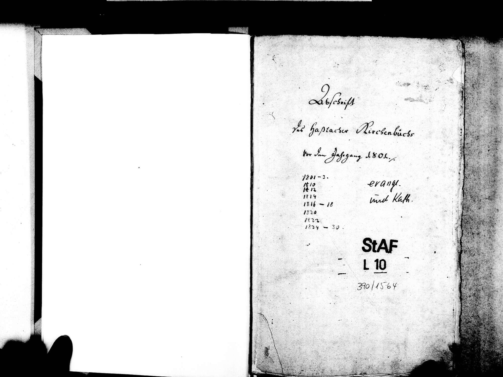 Haslach, Freiburg FR; Evangelische Gemeinde: Standesbuch 1801-1870 Enthält: Einzelne Katholische Einträge, Bild 2