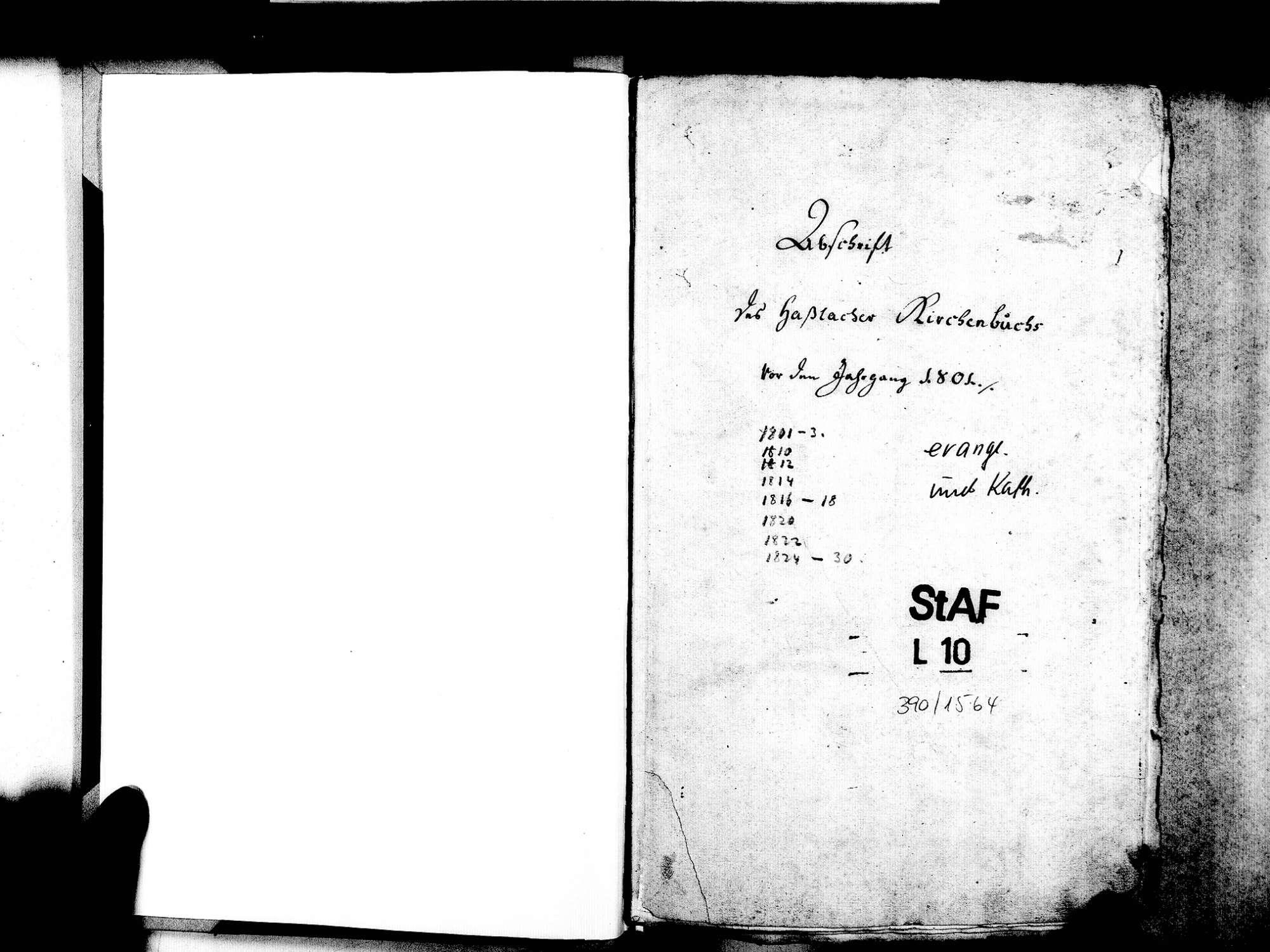 Haslach, Freiburg FR; Evangelische Gemeinde: Standesbuch 1801-1870 Enthält: Einzelne Katholische Einträge, Bild 3