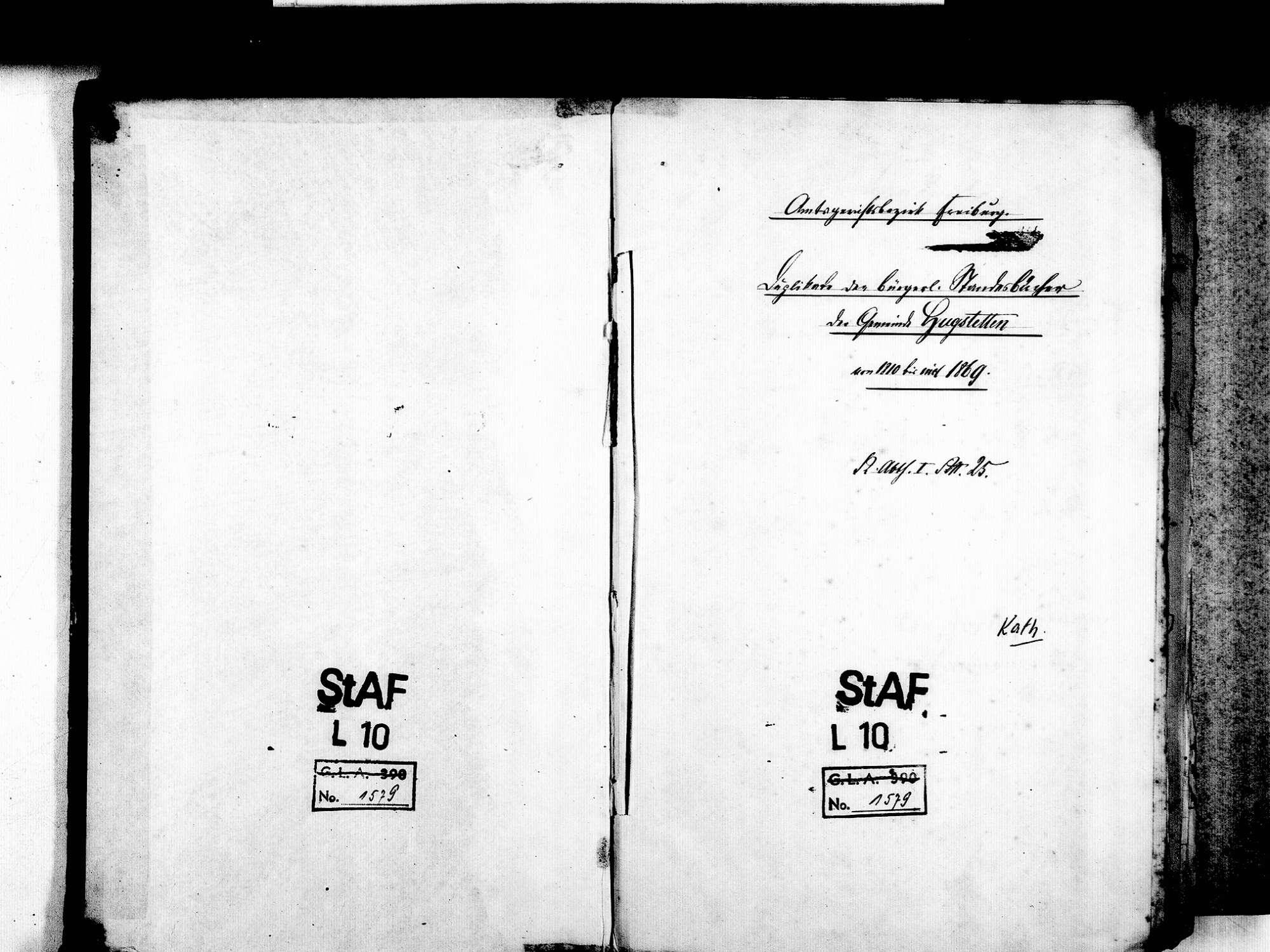 Hugstetten, March FR; Katholische Gemeinde: Standesbuch 1810-1869 [1812-1818 nicht laufend geführt], Bild 2