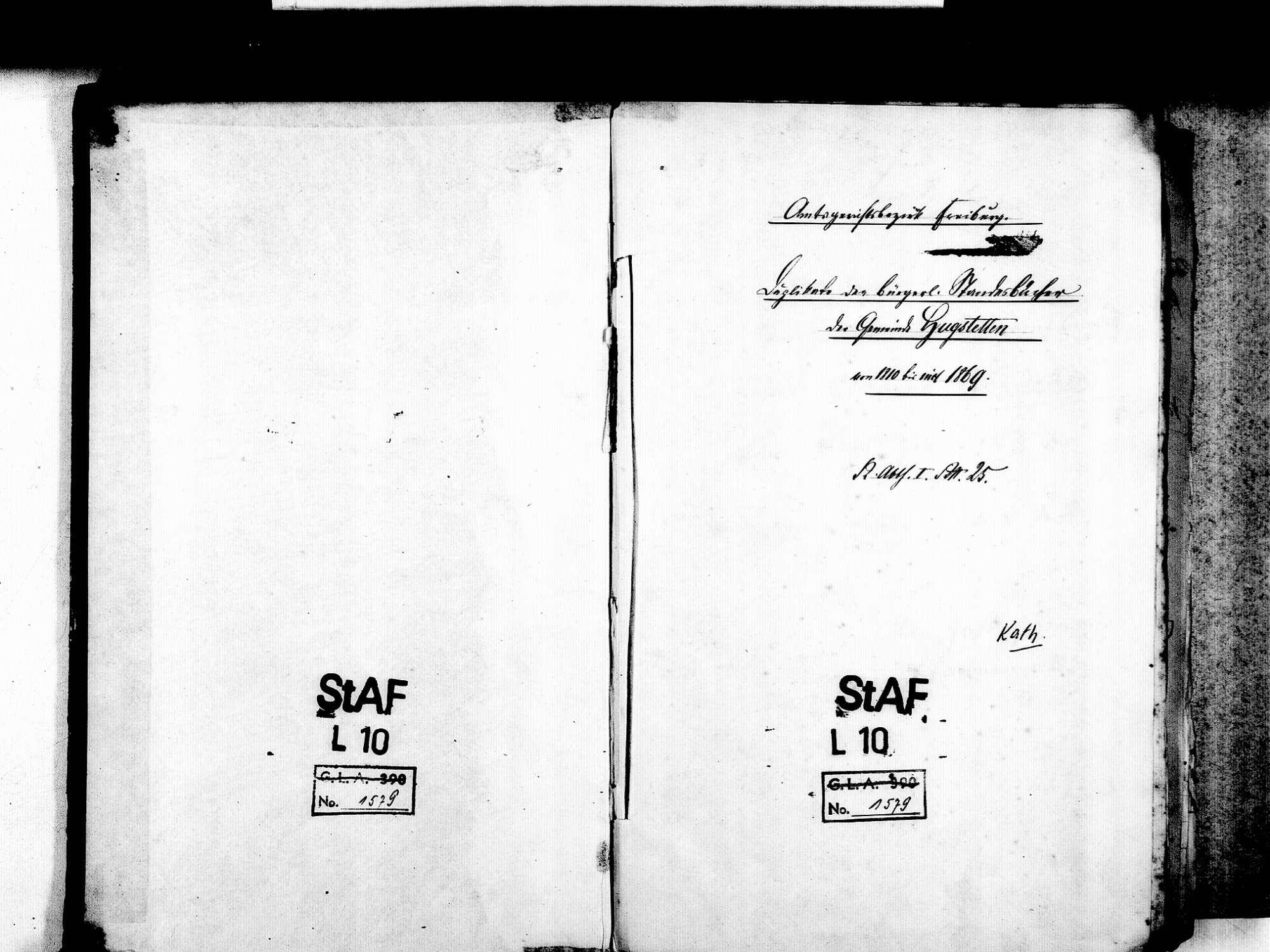 Hugstetten, March FR; Katholische Gemeinde: Standesbuch 1810-1869 [1812-1818 nicht laufend geführt], Bild 3