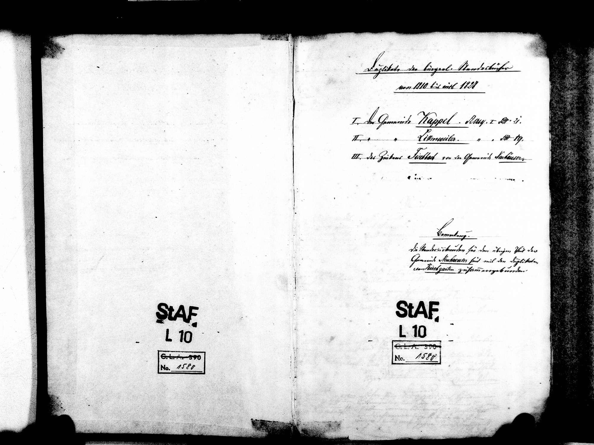 Kappel, Freiburg FR; Katholische Gemeinde: Standesbuch 1810-1828 Enthält: Komturische und Sickingische Herrschaft, Bild 3