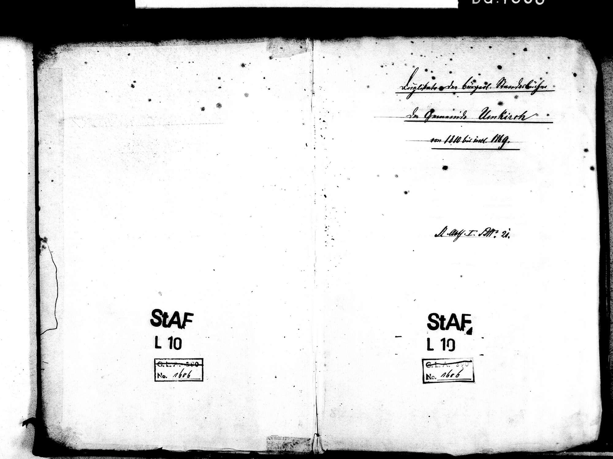 Umkirch FR; Katholische Gemeinde: Standesbuch 1810-1870 [nicht forlaufend; 1832 siehe nach 1833], Bild 2