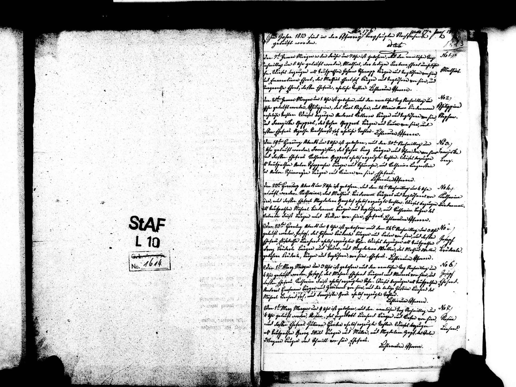 Berghaupten OG; Katholische Gemeinde: Geburtenbuch 1813-1839 Enthält: Einzelne Evangelische Einträge, Bild 3