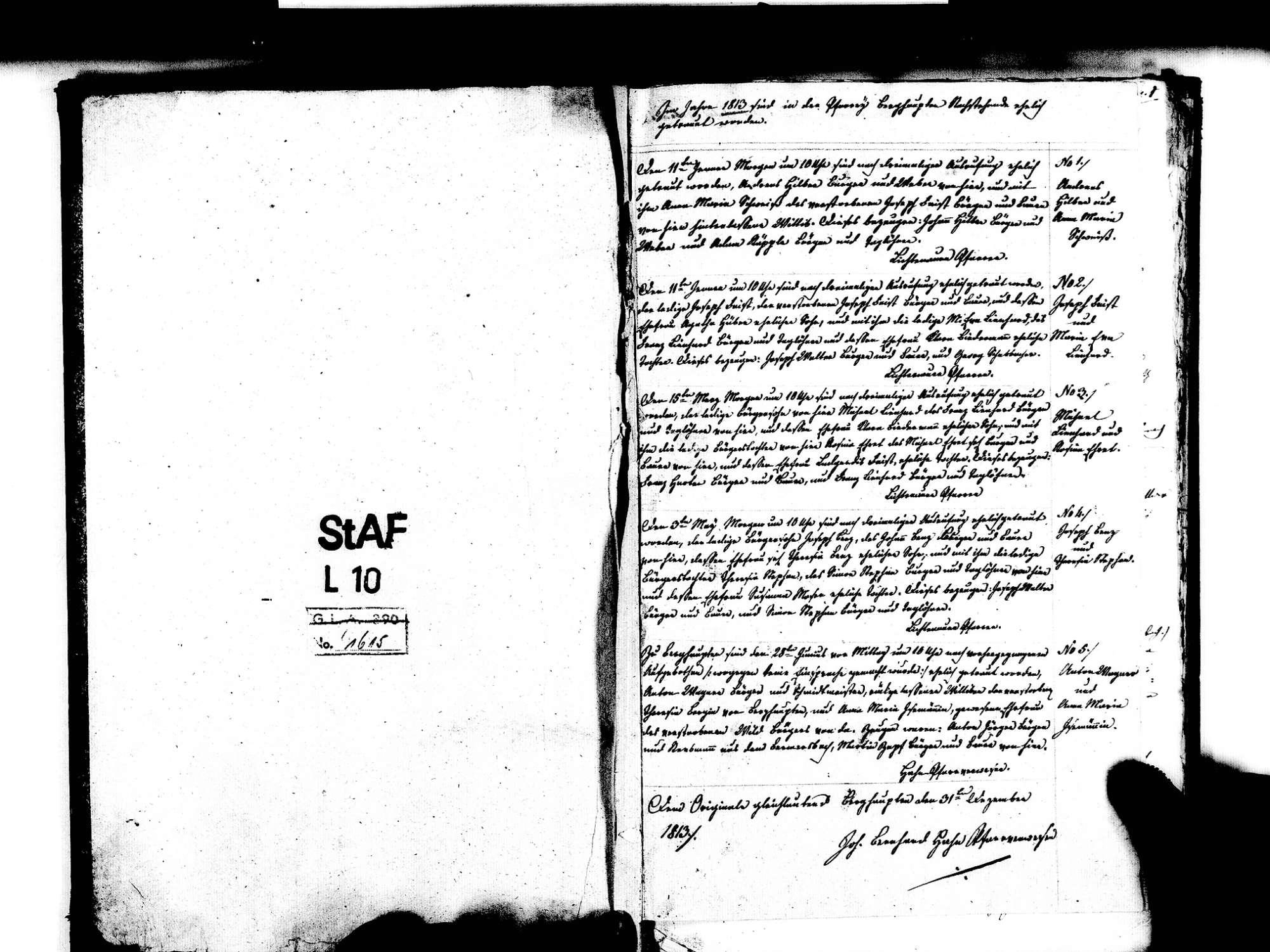 Berghaupten OG; Katholische Gemeinde: Heiratsbuch 1813-1839 Enthält: Einzelne Evangelische Einträge, Bild 3
