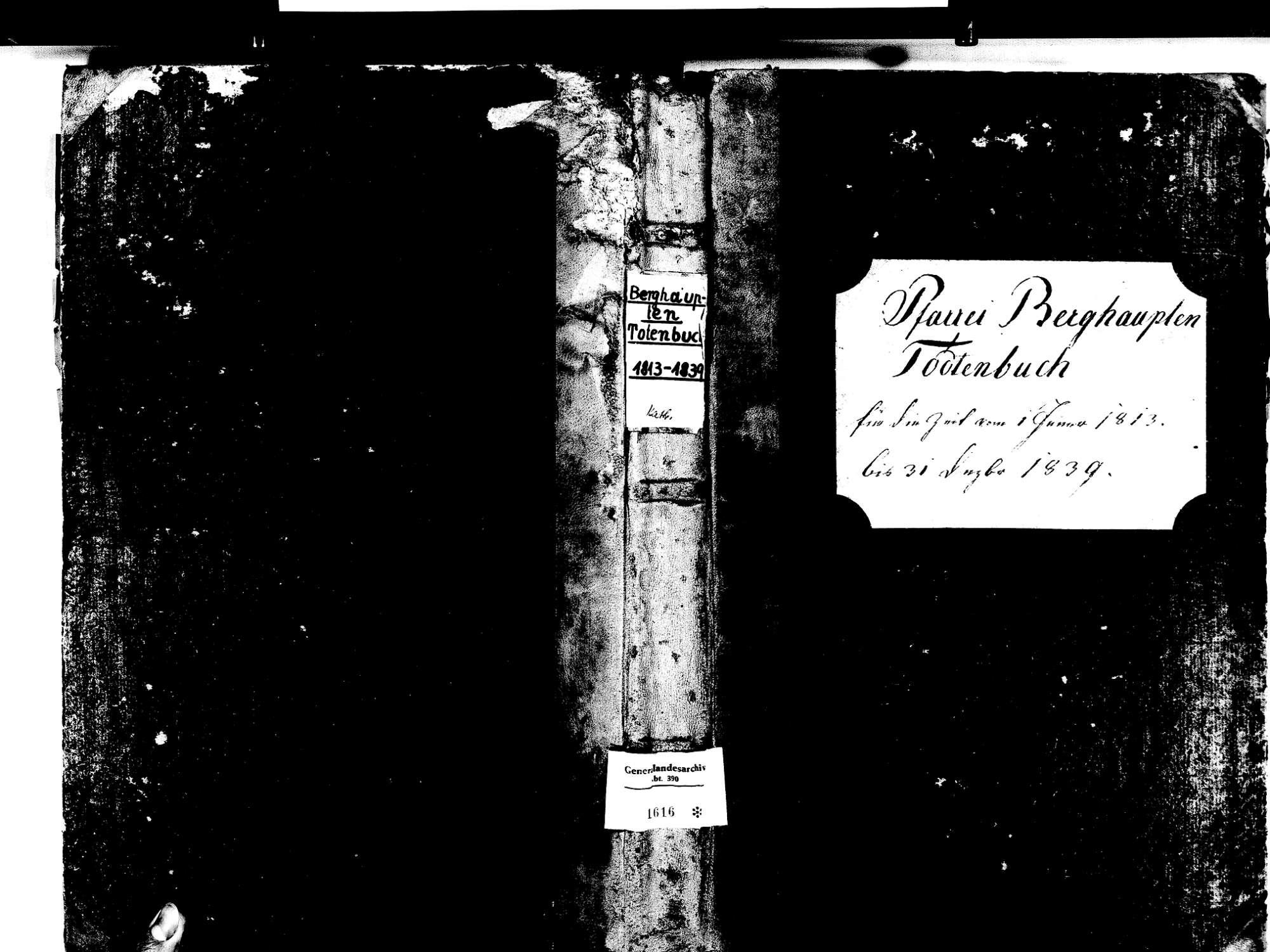 Berghaupten OG; Katholische Gemeinde: Sterbebuch 1813-1839 Enthält: Einzelne Evangelische Einträge, Bild 1