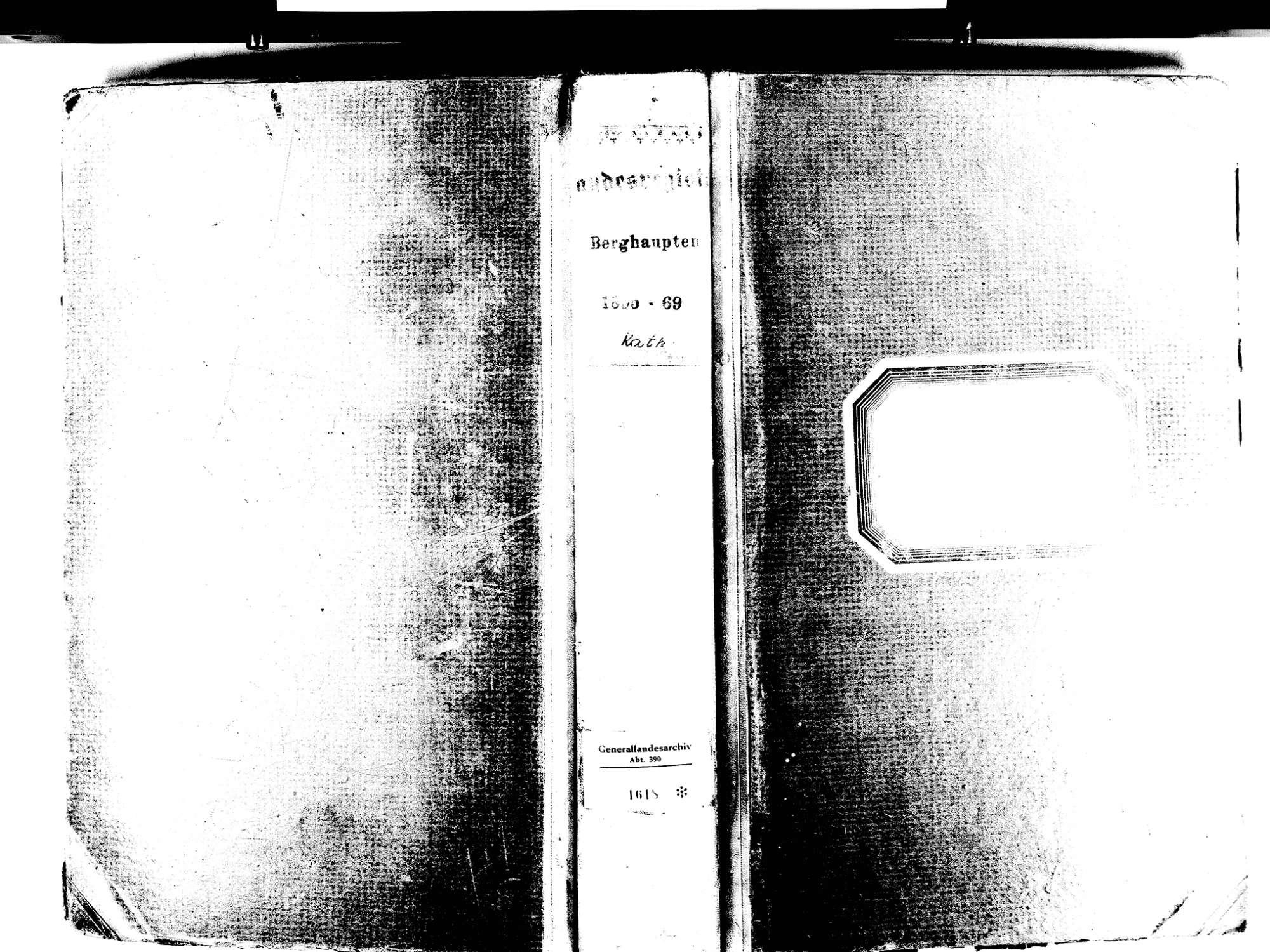 Berghaupten OG; Katholische Gemeinde: Standesbuch 1855-1869 Enthält: Einzelne Evangelische Einträge, Bild 1