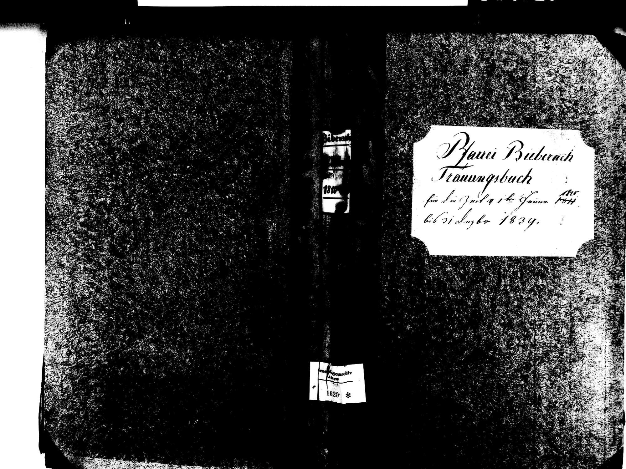 Biberach OG: Katholische Gemeinde: Heiratsbuch 1810-1839 Enthält: Einzelne Evangelische Einträge, Bild 1