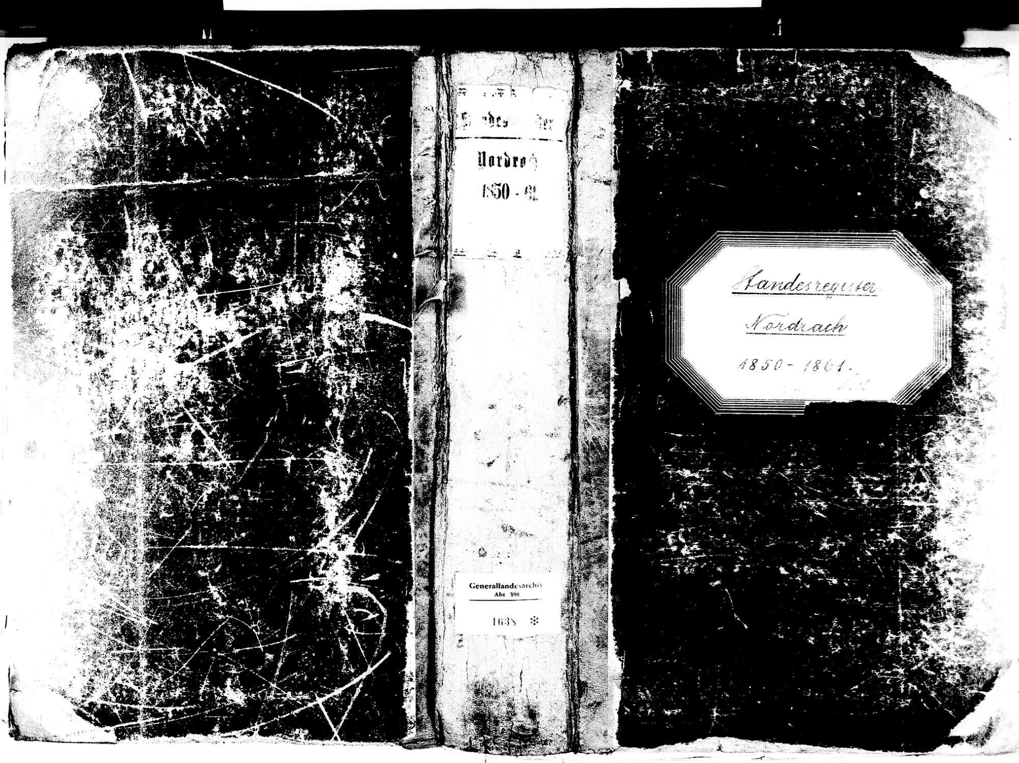 Nordrach OG; Katholische Gemeinde: Standesbuch 1850-1861 Enthält auch: Vaterschaftsanerkennungen nach Geburtsregister, Bild 1
