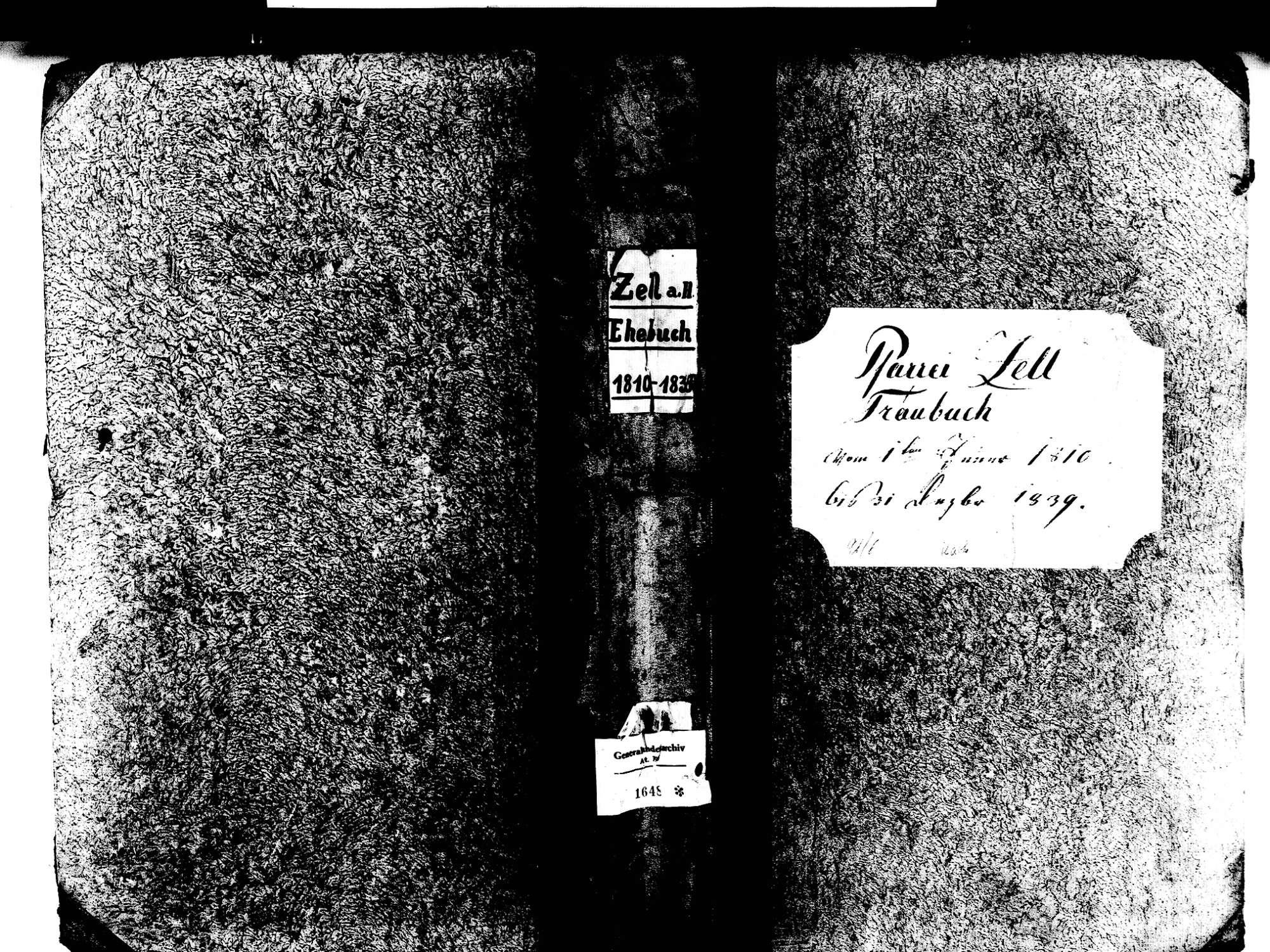 Zell am Harmersbach OG; Katholische Gemeinde: Heiratsbuch 1810-1839 Zell am Harmersbach OG; Katholische Gemeinde: Sterbebuch 1813, 1829, Bild 1