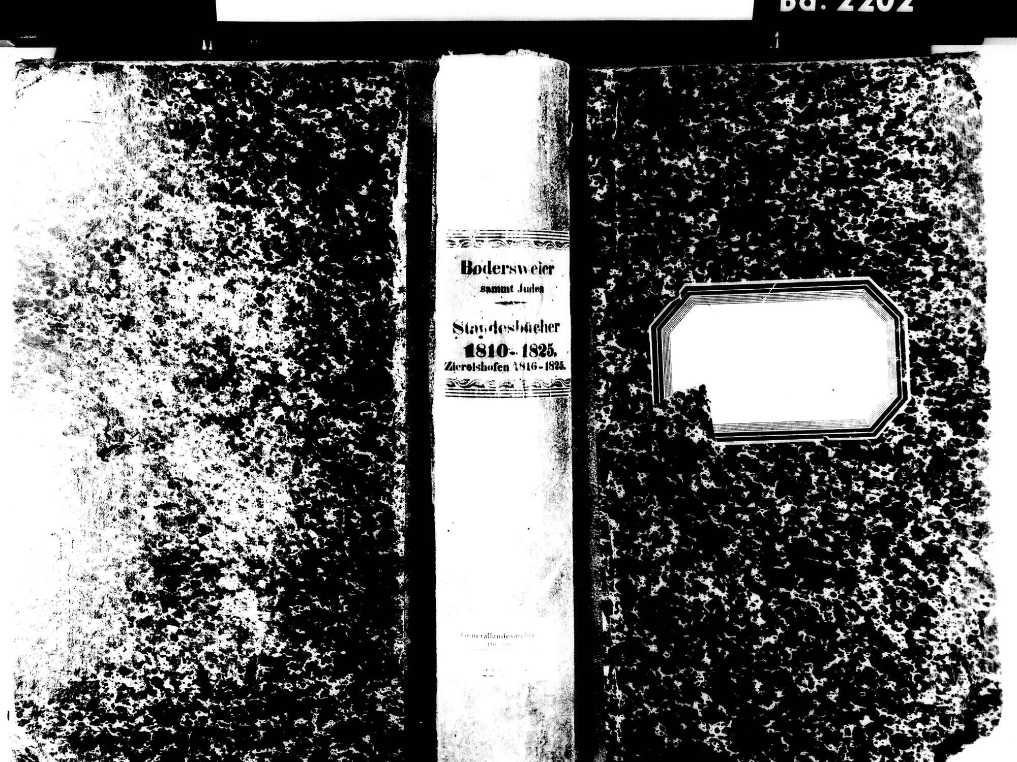 Bodersweier, Kehl OG; Evangelische Gemeinde: Standesbuch 1810-1825 Bodersweier, Kehl OG; Israelitische Gemeinde: Standesbuch 1810-1825, Bild 1
