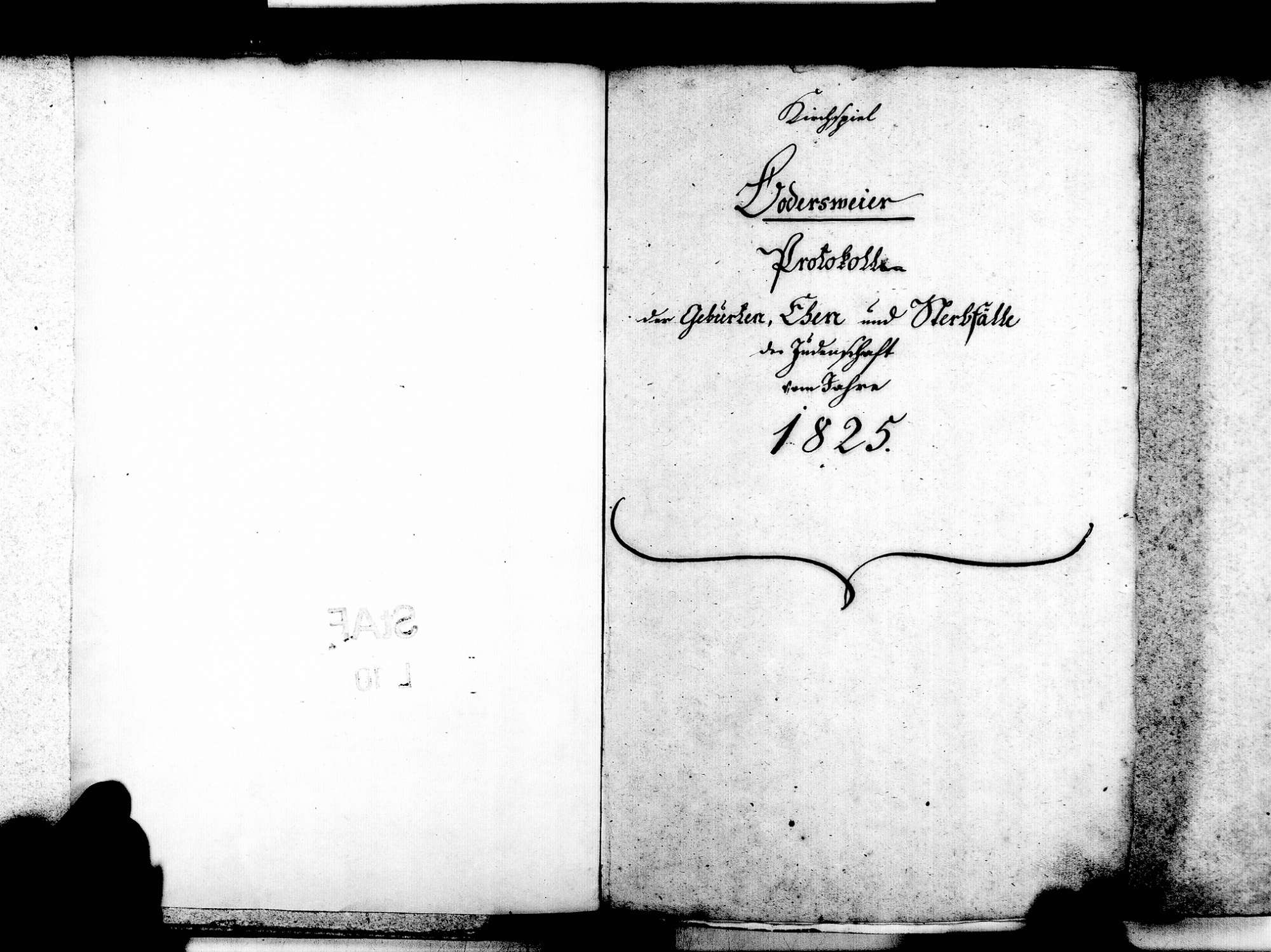 Bodersweier, Kehl OG; Israelitische Gemeinde: Standesbuch 1825-1870, Bild 3