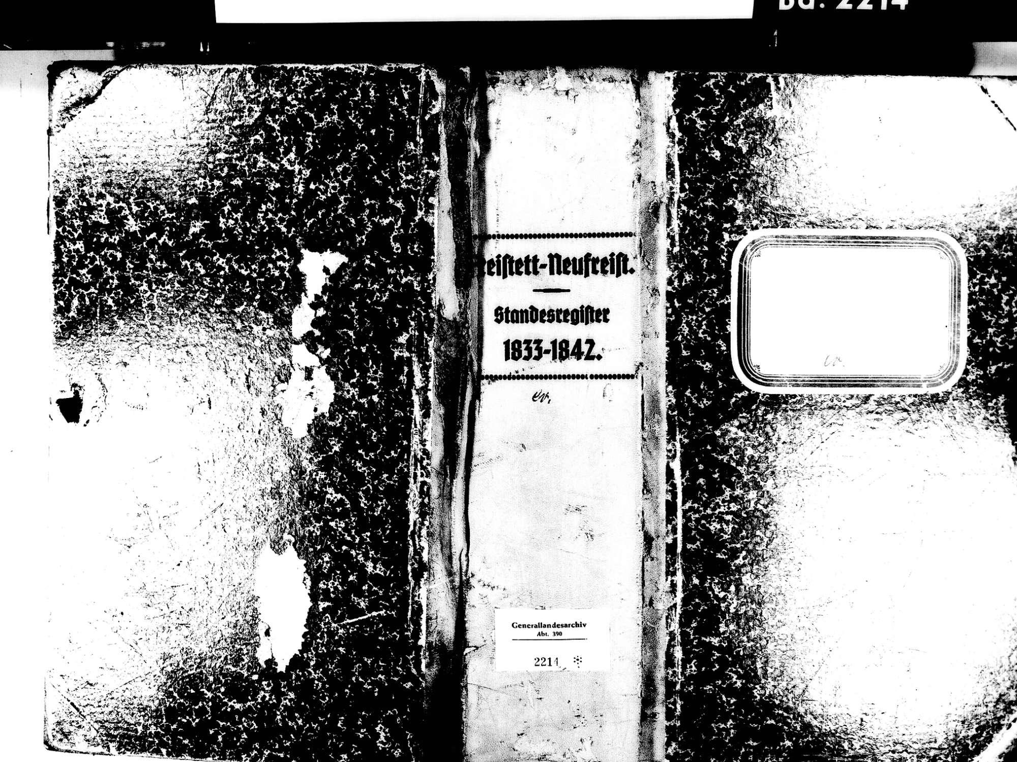 Freistett, Rheinau OG; Evangelische Gemeinde: Standesbuch 1833-1842, Bild 1