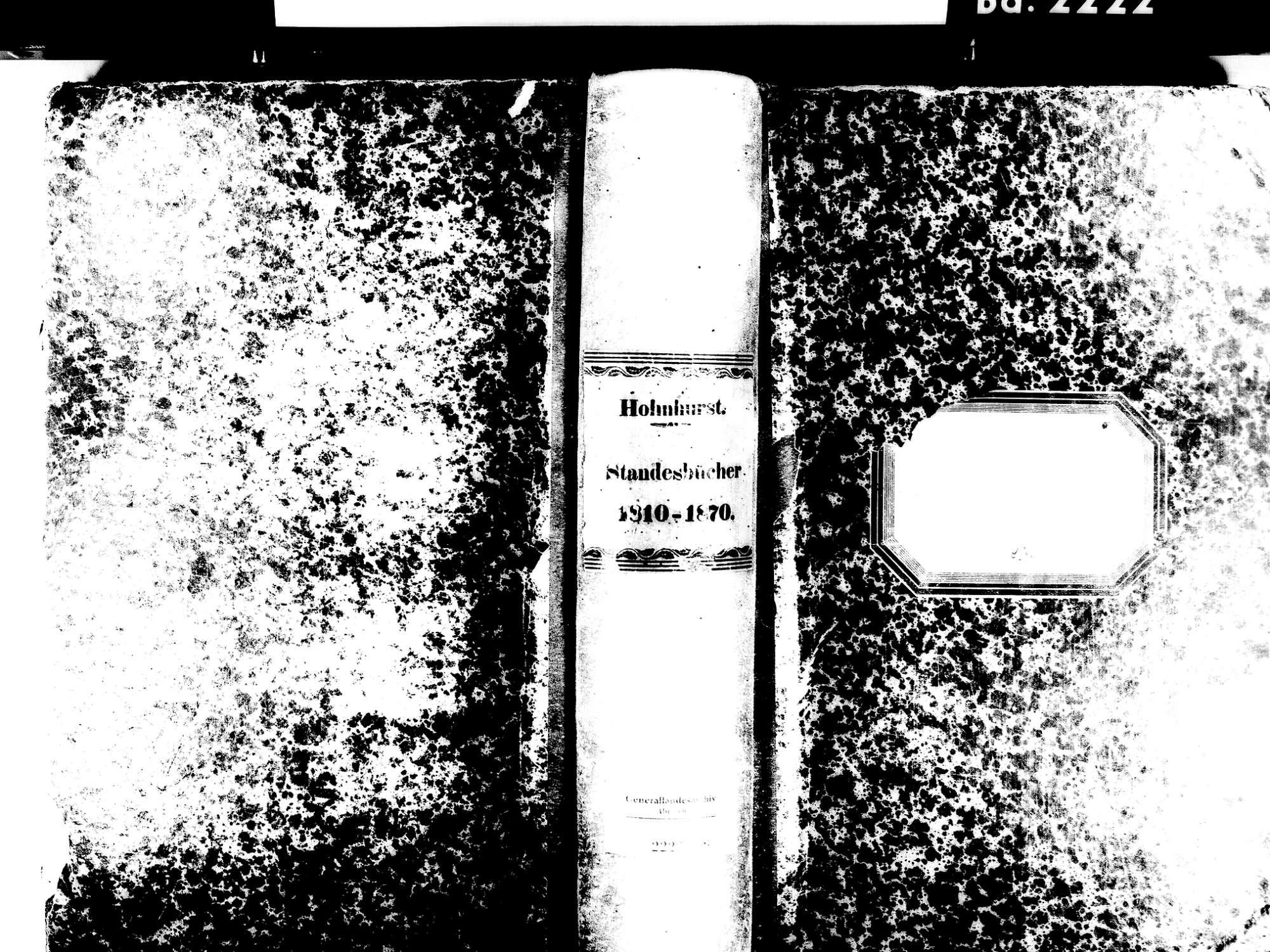 Hohnhurst, Kehl OG; Evangelische Gemeinde: Standesbuch 1810-1870, Bild 1