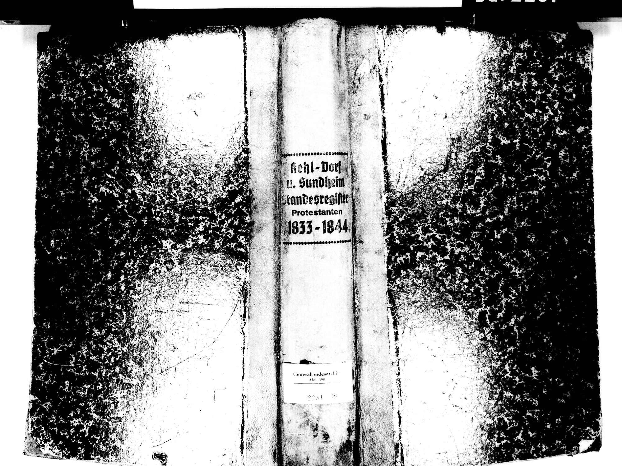 Kehl Dorf, aufgegangen in Kehl OG; Evangelische Gemeinde: Standesbuch 1833-1844, Bild 1