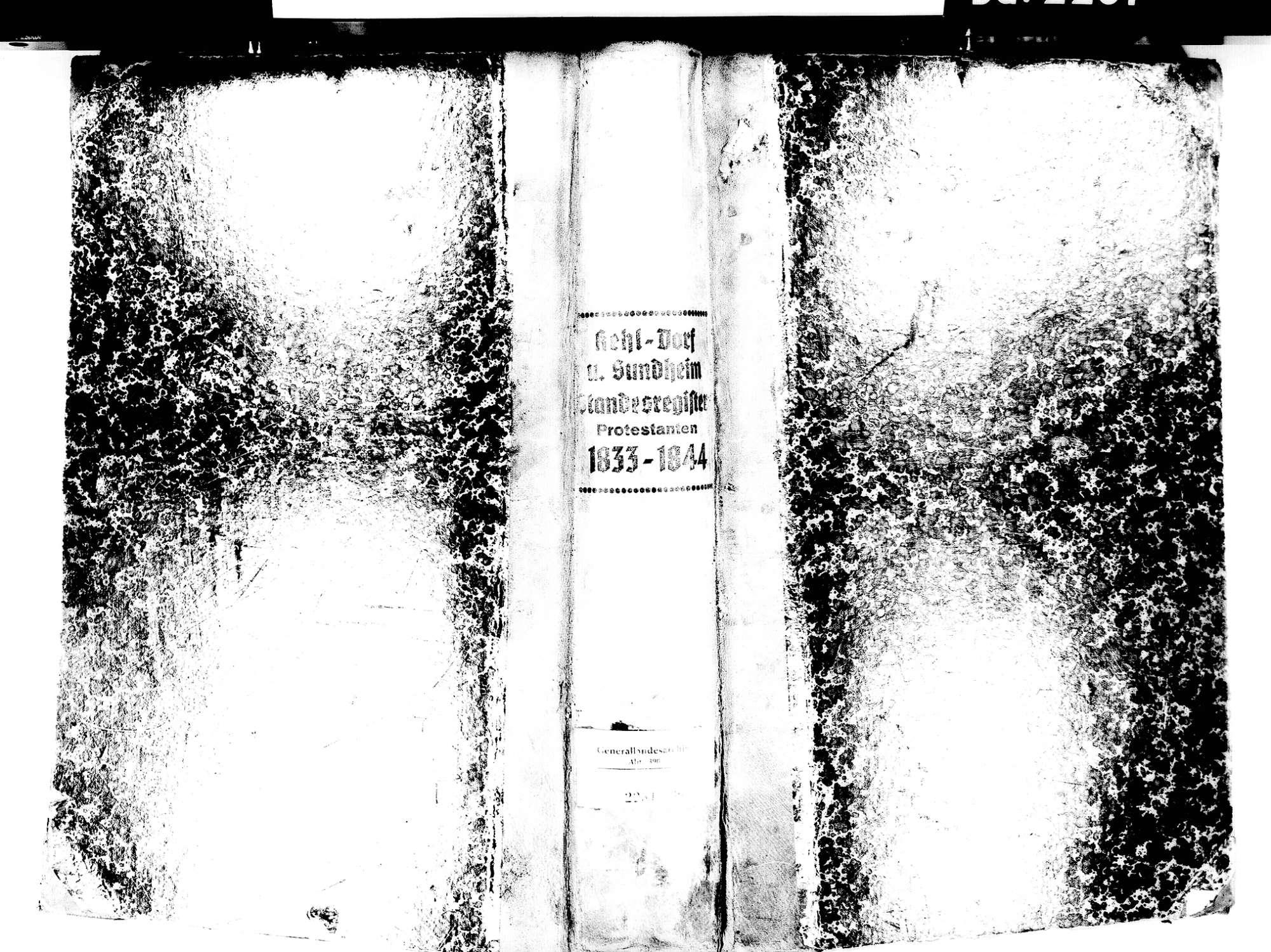 Kehl Dorf, aufgegangen in Kehl OG; Evangelische Gemeinde: Standesbuch 1833-1844, Bild 2
