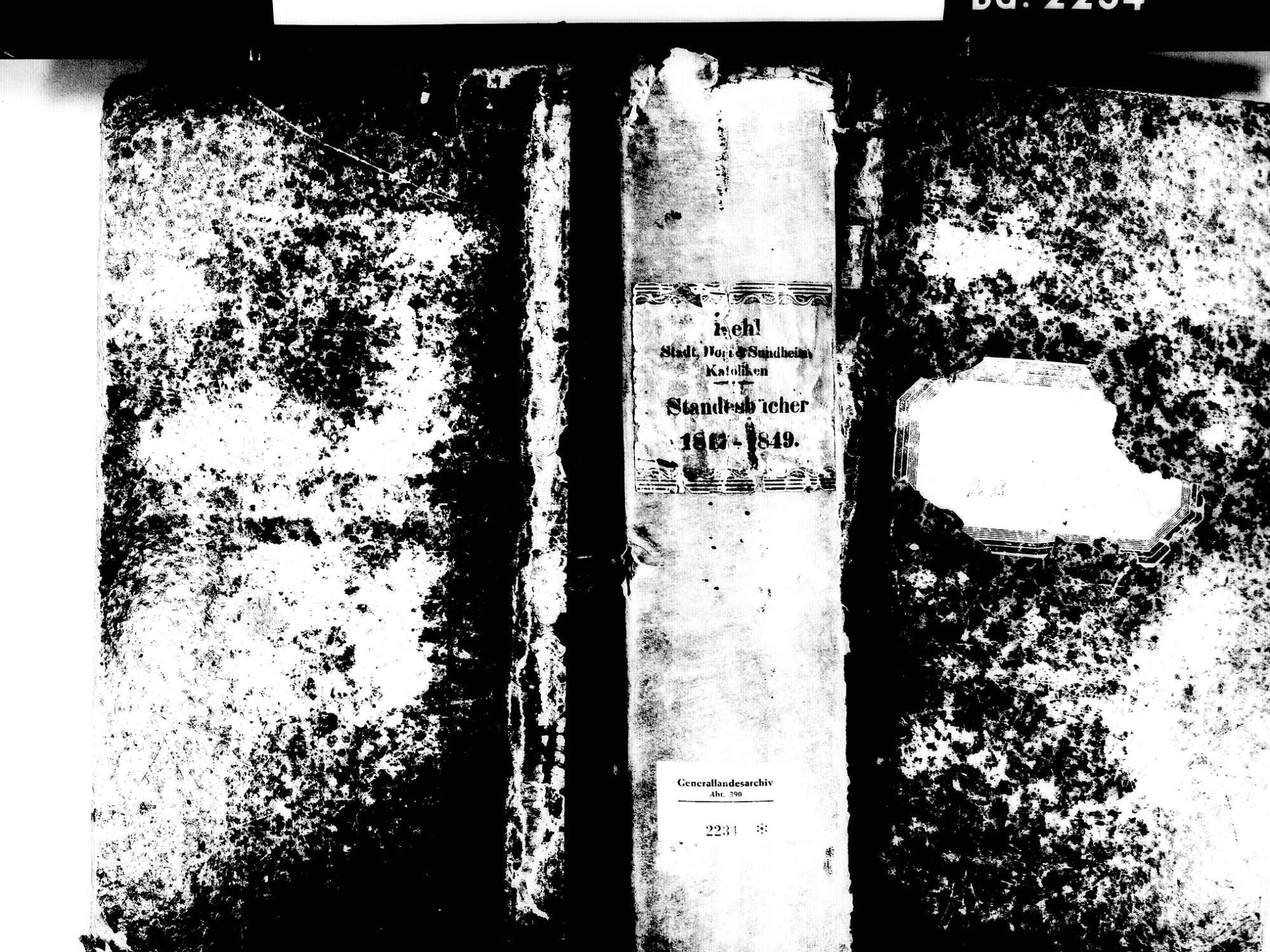 Kehl Dorf, aufgegangen in Kehl OG; Katholische Gemeinde: Standesbuch 1817-1849, Bild 1
