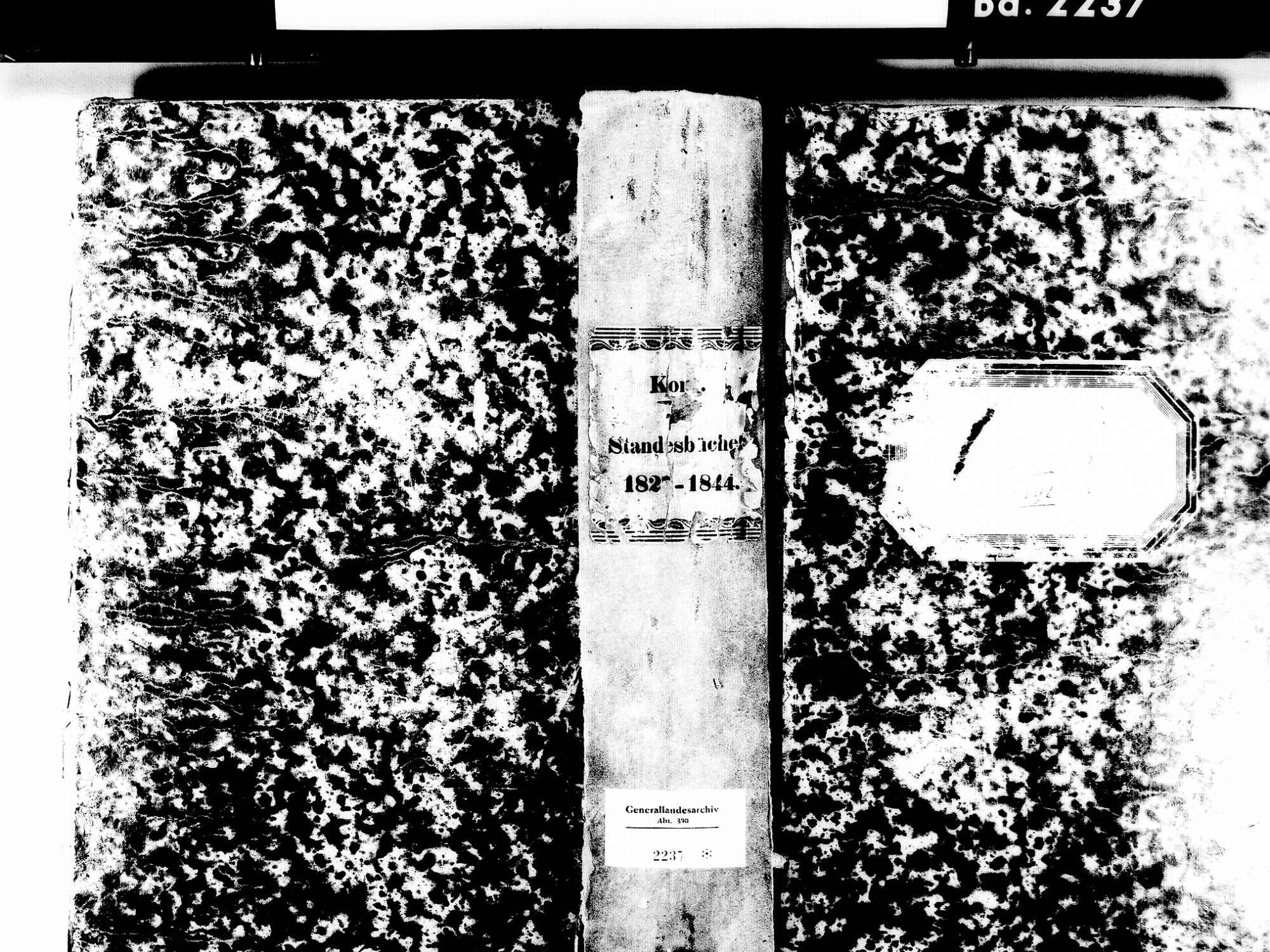 Kork, Kehl OG; Evangelische Gemeinde: Standesbuch 1827-1844, Bild 1