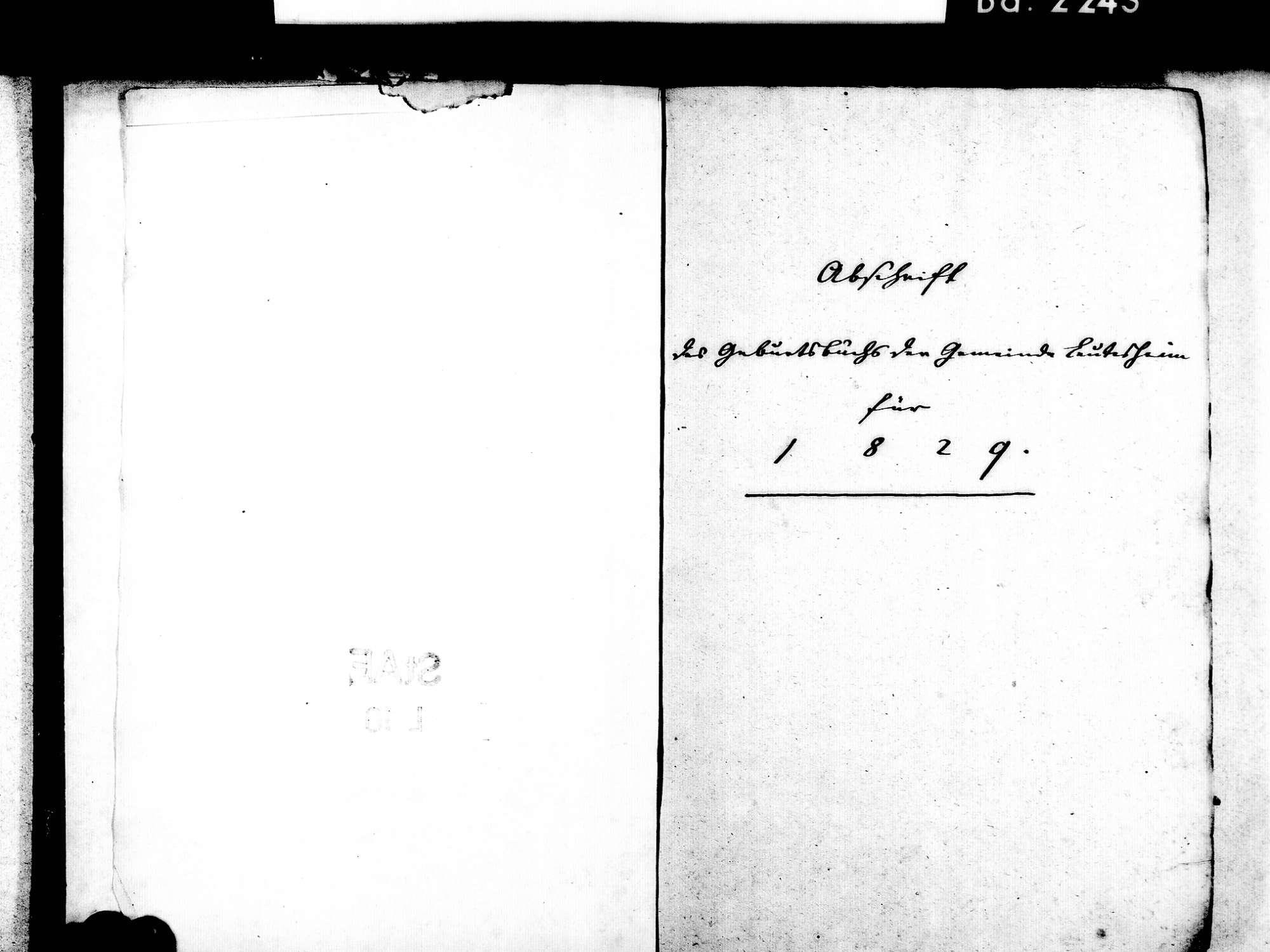 Leutesheim, Kehl OG; Evangelische Gemeinde: Standesbuch 1829-1846, Bild 3