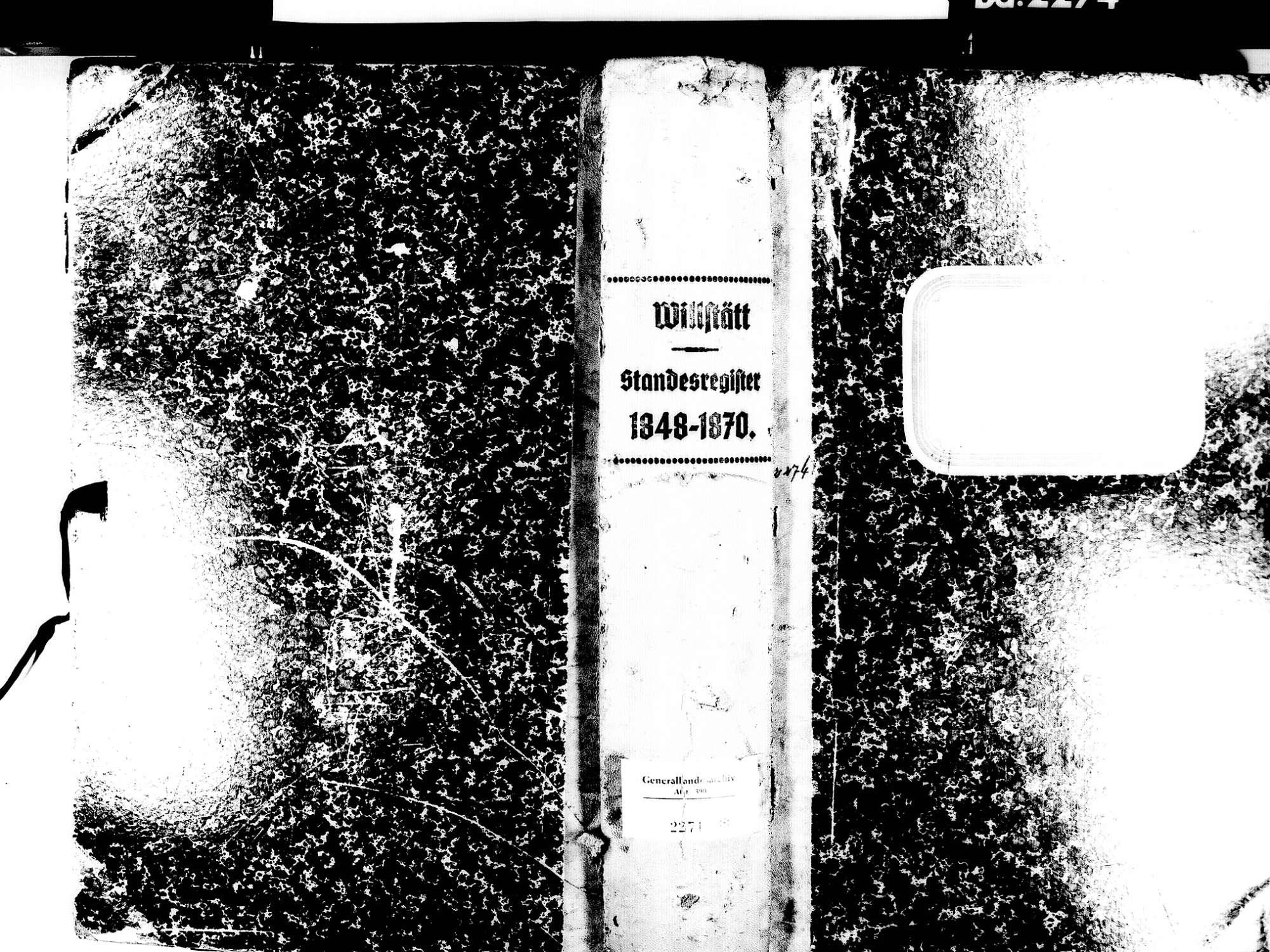 Willstätt OG; Evangelische Gemeinde: Standesbuch 1848-1870, Bild 1