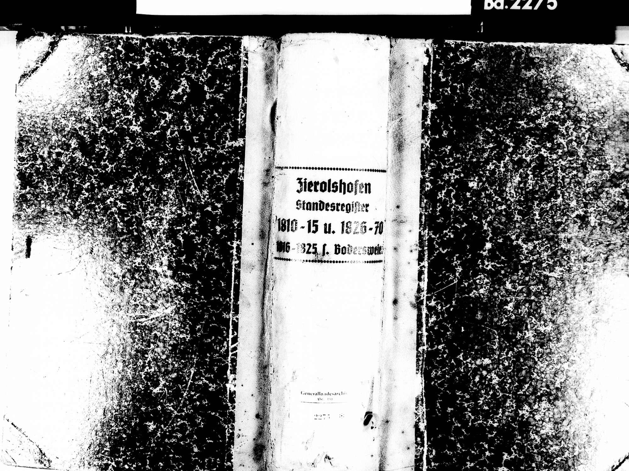 Zierolshofen, Kehl OG; Evangelische Gemeinde: Standesbuch 1810-1815, 1826-1870, Bild 1