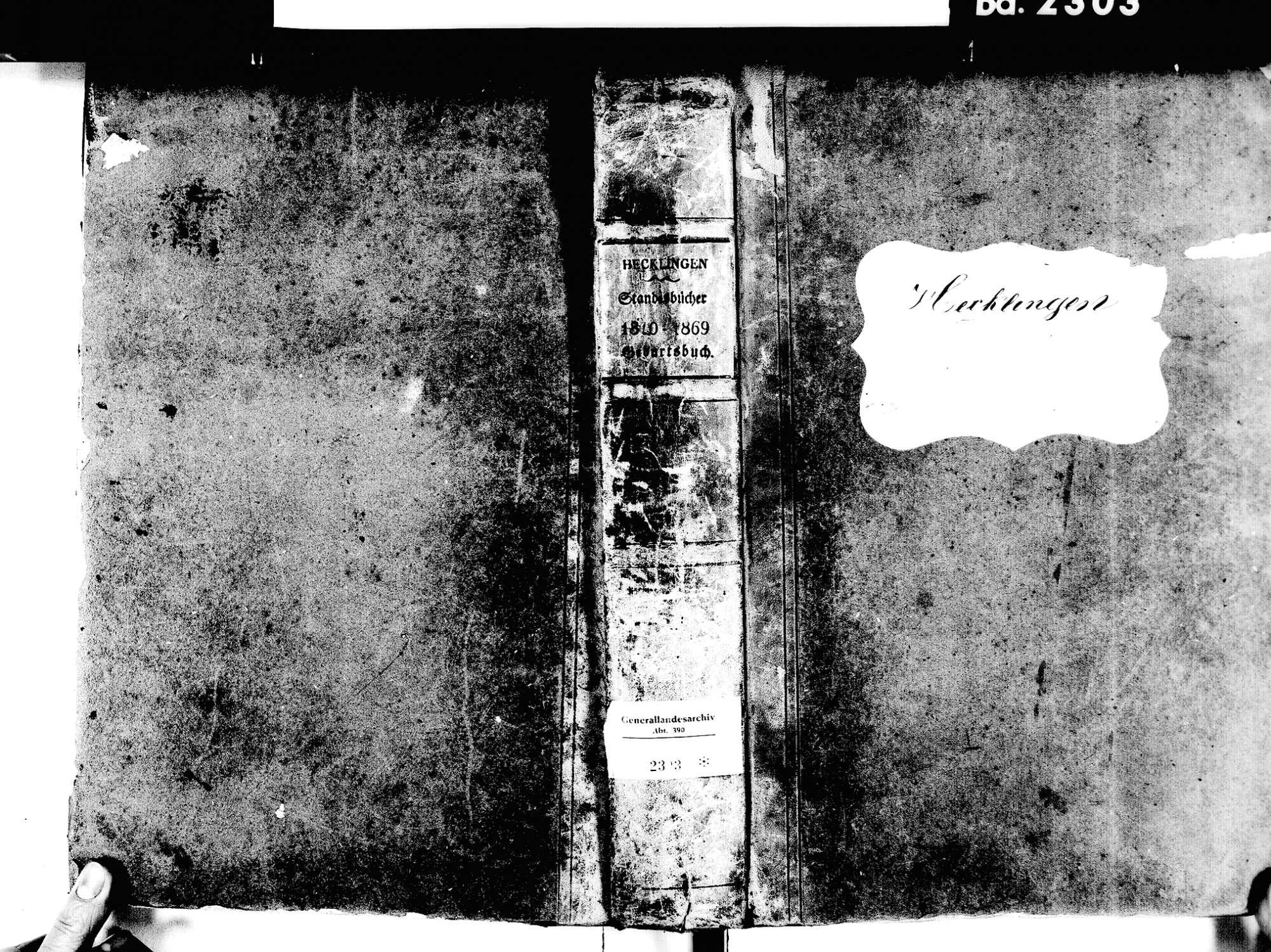 Hecklingen, Kenzingen EM; Katholische Gemeinde: Geburtenbuch 1810-1869 Hecklingen, Kenzingen EM; Katholische Gemeinde: Sterbebuch 1813, Bild 1
