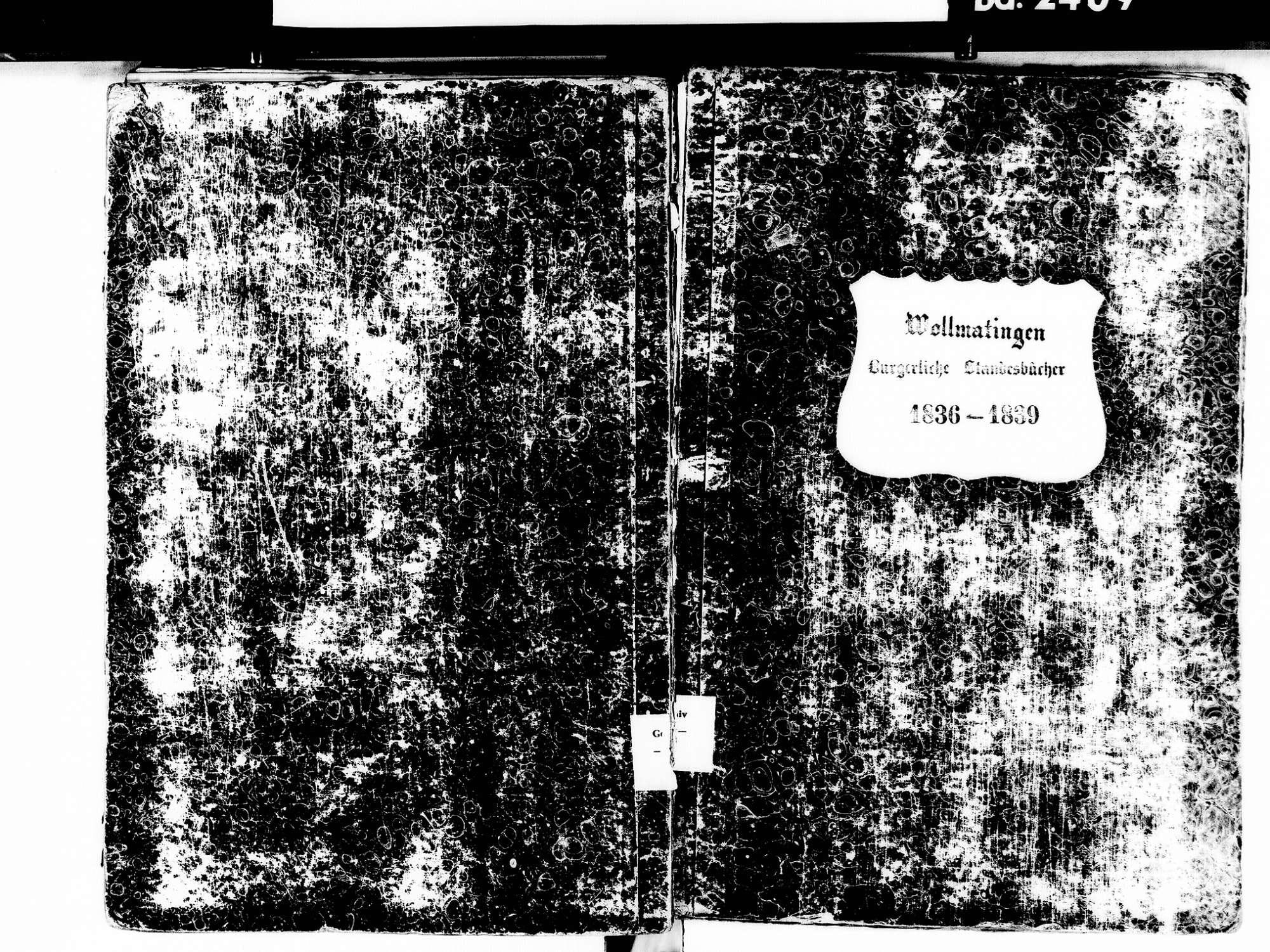Wollmatingen, Konstanz KN; Katholische Gemeinde: Standesbuch 1836-1839, Bild 1