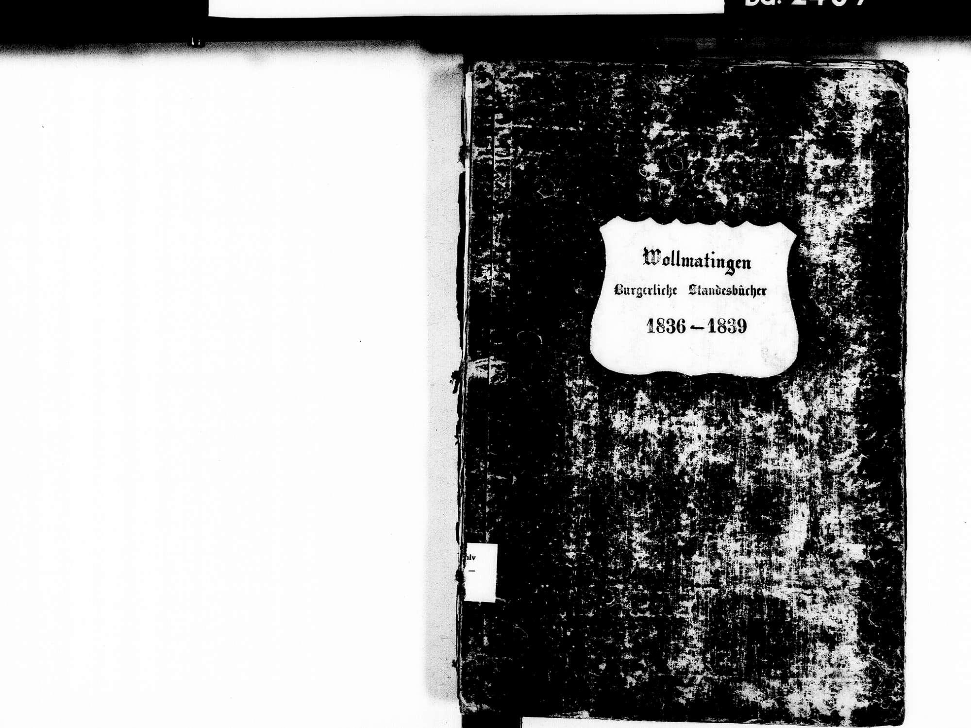 Wollmatingen, Konstanz KN; Katholische Gemeinde: Standesbuch 1836-1839, Bild 2