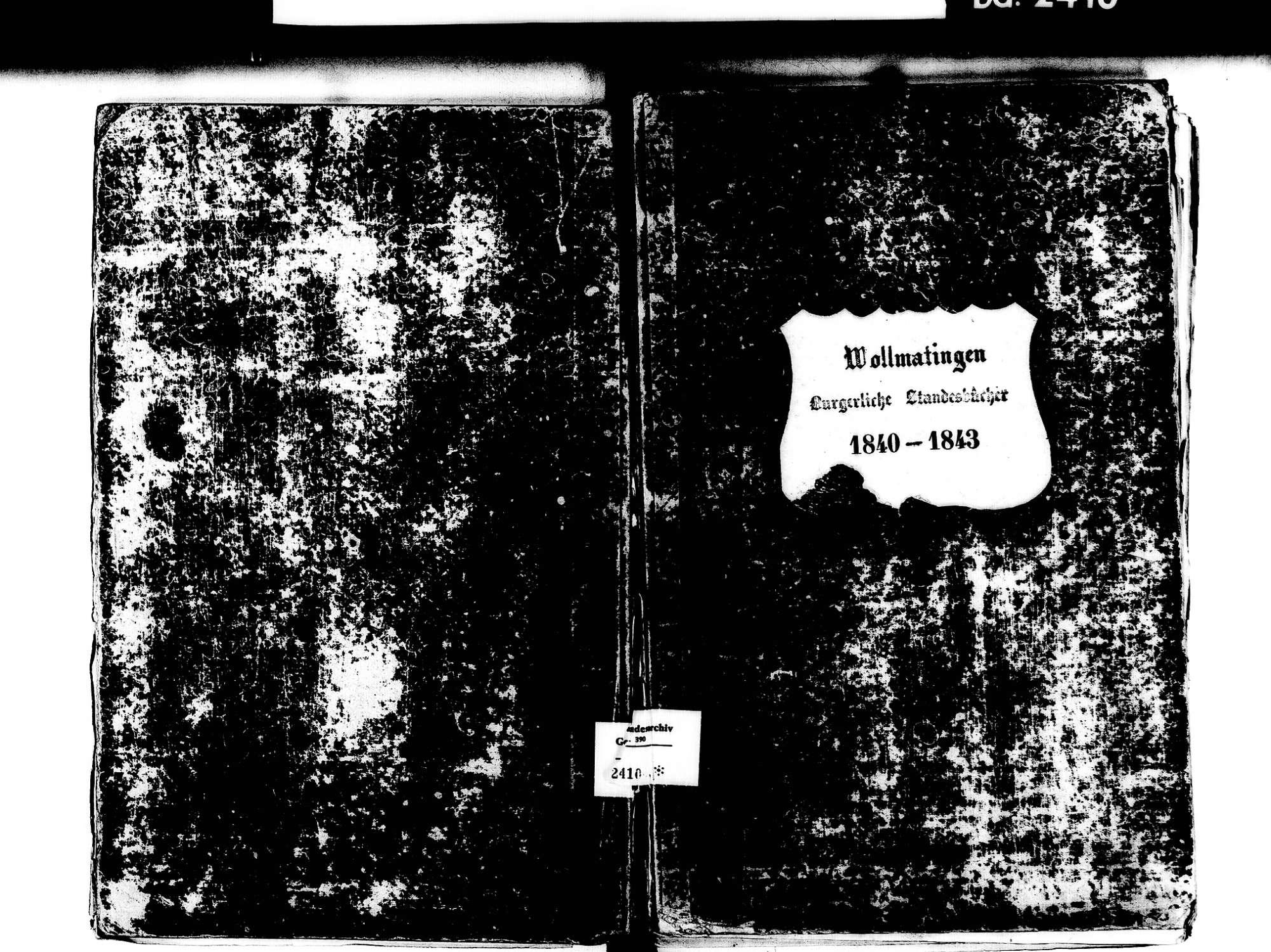 Wollmatingen, Konstanz KN; Katholische Gemeinde: Standesbuch 1840-1843, Bild 1