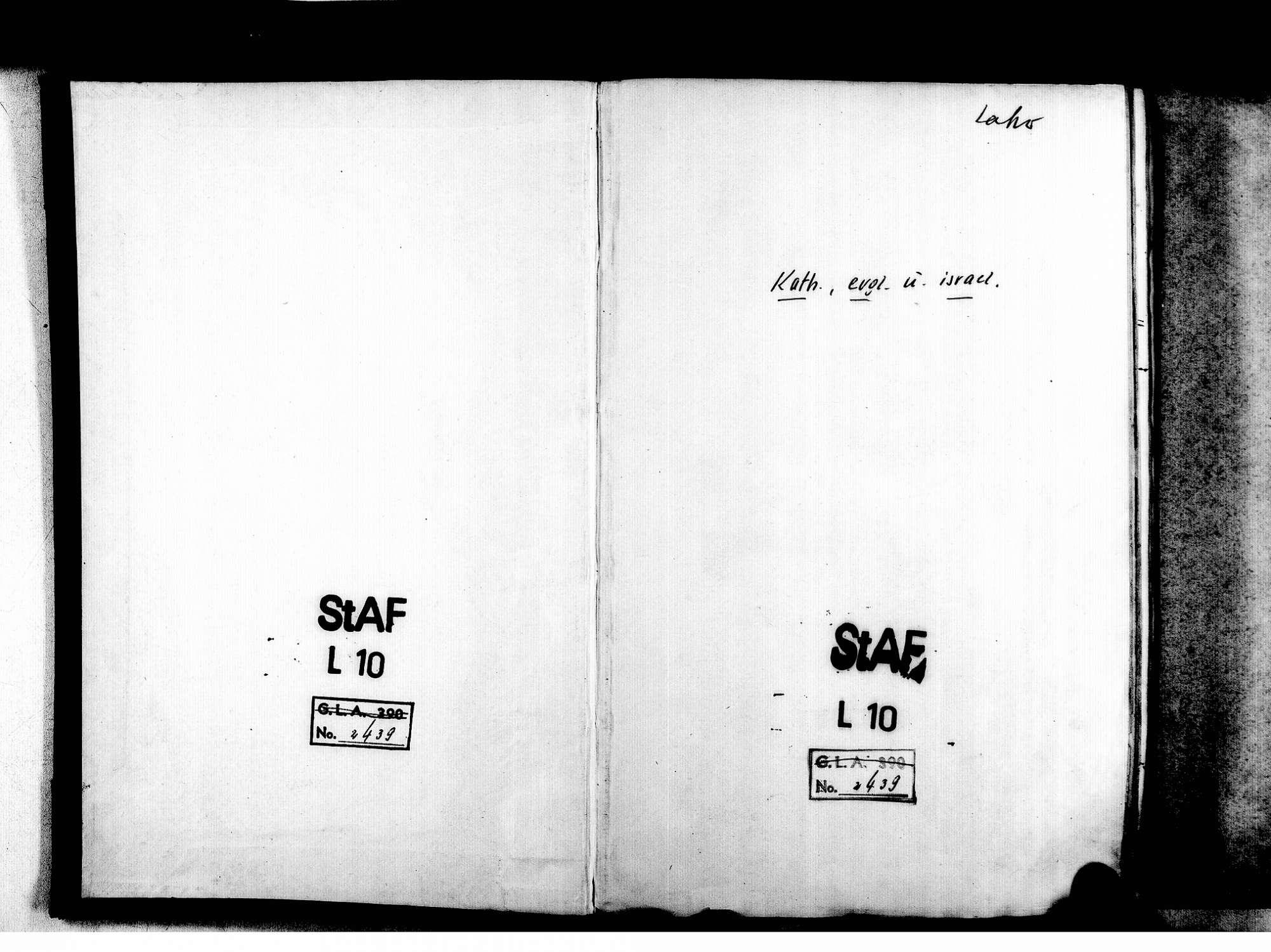 Friesenheim OG; Evangelische Gemeinde: Standesbuch 1856-1869 Friesenheim OG; Katholische Gemeinde: Standesbuch 1856-1869 Friesenheim OG; Israelitische Gemeinde: Standesbuch 1856-1869, Bild 2