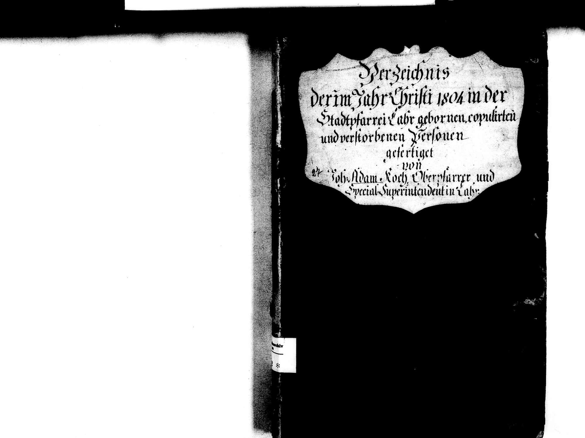 Lahr im Schwarzwald OG; Evangelische Gemeinde: Standesbuch 1804, Bild 2